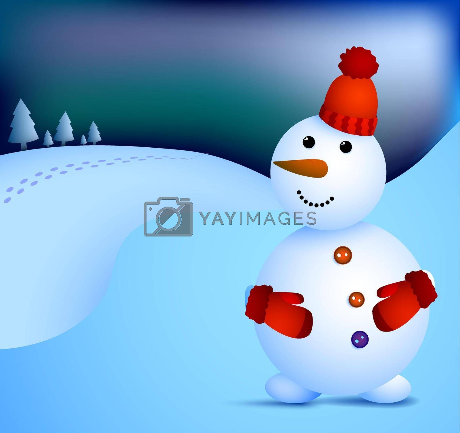 kind snowman stands at night and looks at northern lights. Winter cityscape and snowman. Meeting of Christmas and New Year. Winter fun. Cartoon vector