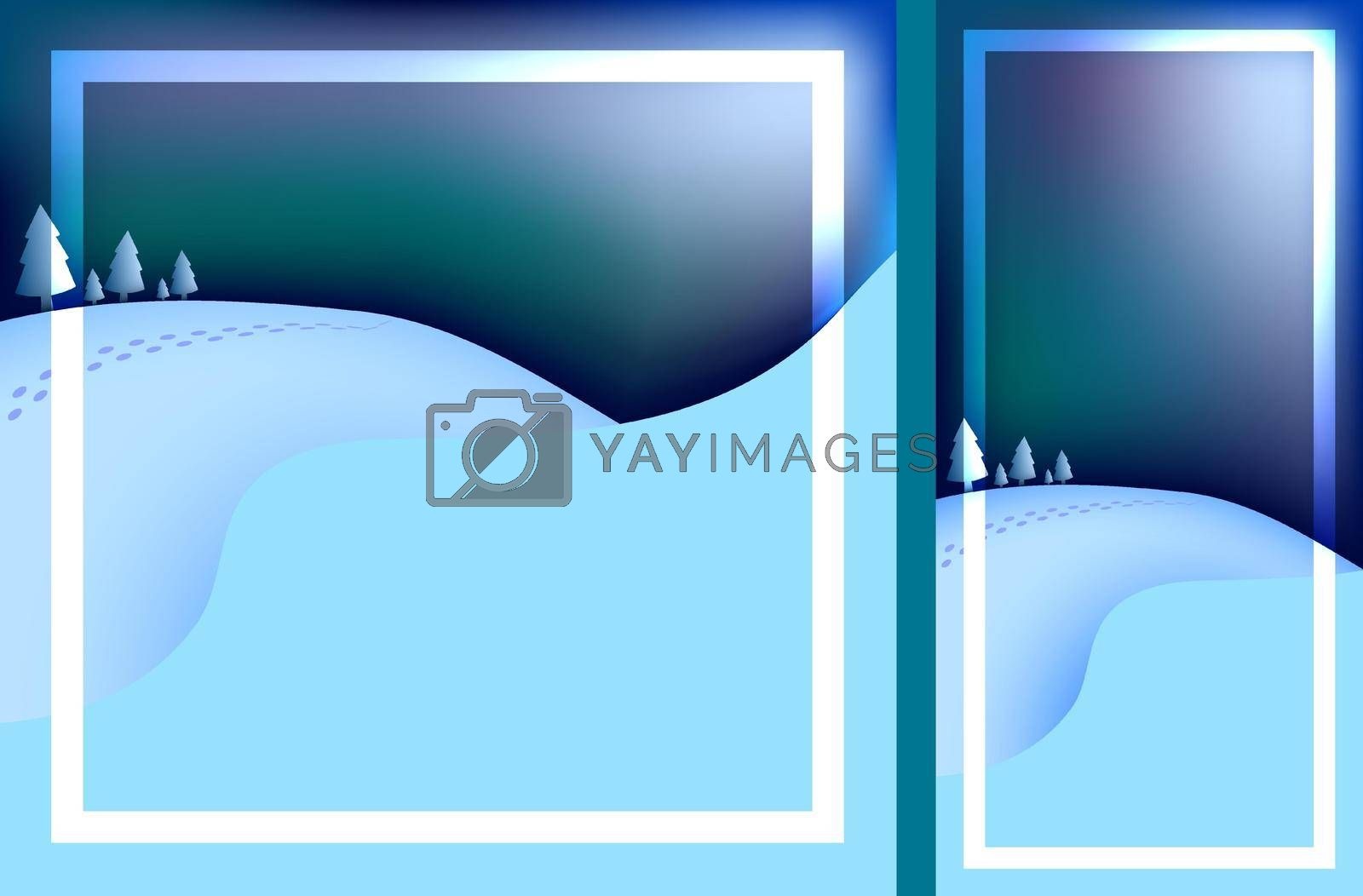 Template for Christmas, New Year card with winter evening landscape. Festive greeting card for Christmas and New Year. Frosty winter evening. Vector