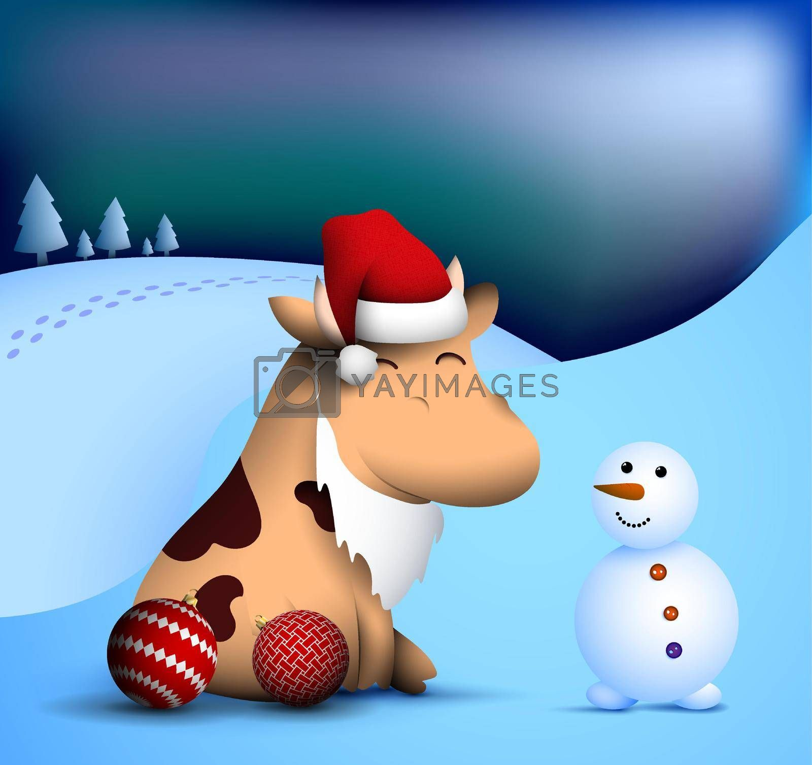 happy little bull, ox in winter clothes makes snowman. Symbol of 2021 of Chinese calendar with satisfied smile on face. Funny animals. Vector