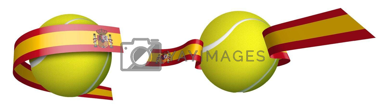 sports tennis ball in ribbons with colors spanish flag. Design element for competitions. World tennis competitions. Isolated vector on white background