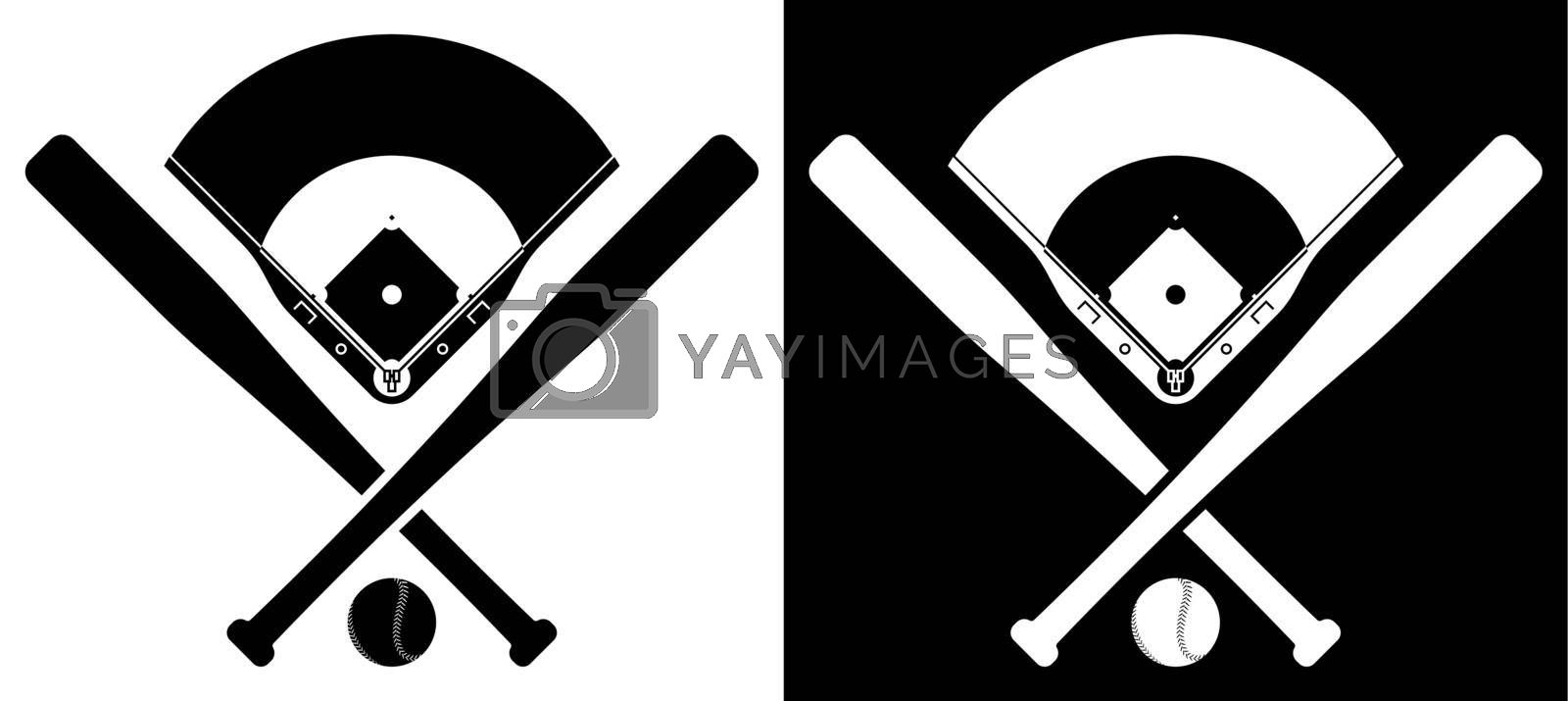 Royalty free image of crossed sports baseball bats with ball and silhouette of baseball stadium. American national sport. Active lifestyle. Realistic vector by RNko