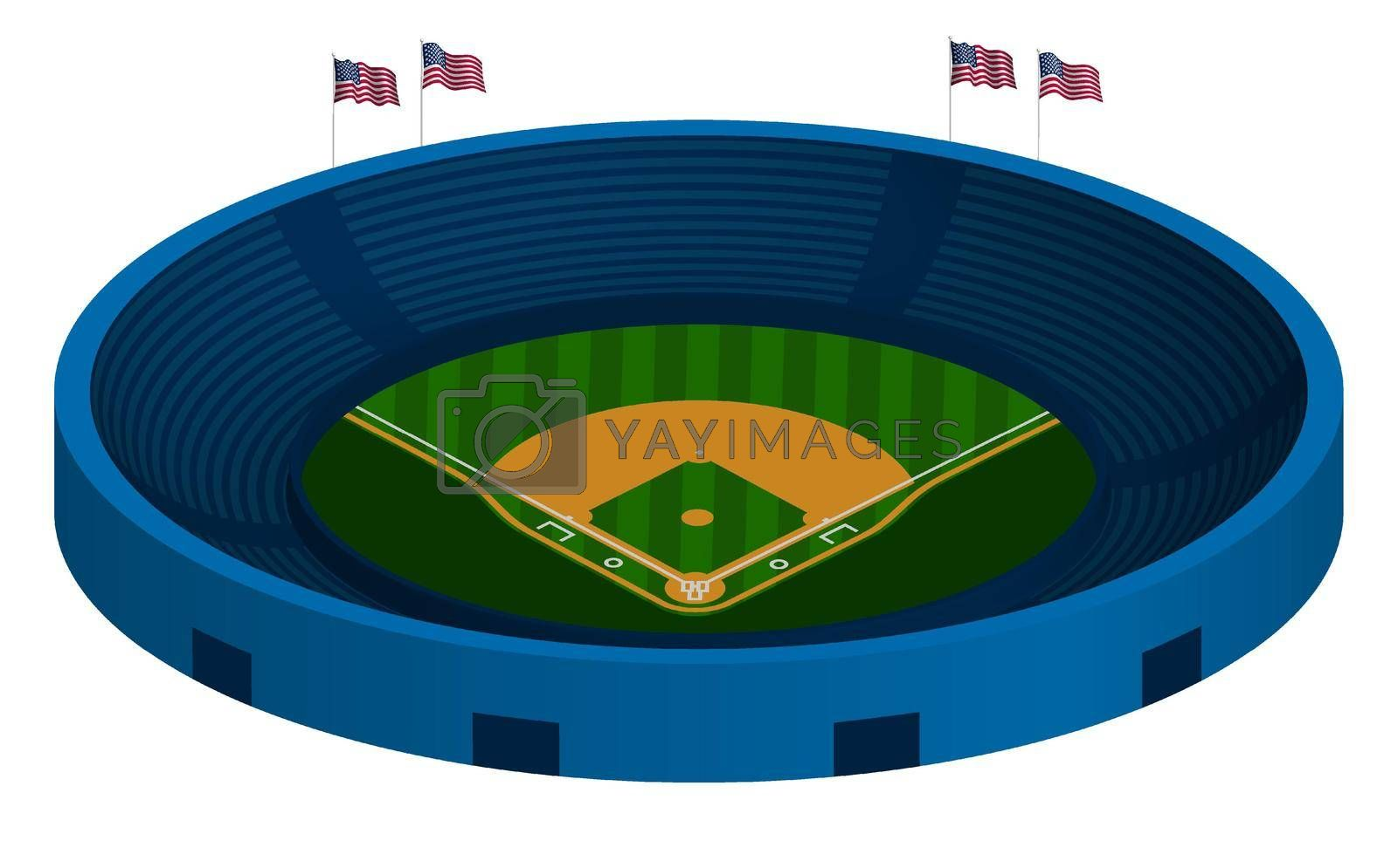 3d baseball stadium with green baseball field and marking lines. Team sports. Active lifestyle. American national sport. Vector
