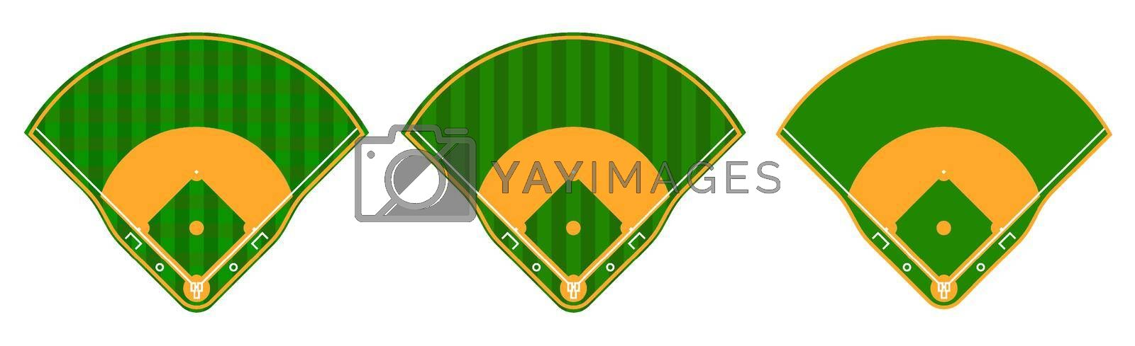 set of green baseball fields with marking lines. Team sports. Active lifestyle. American national sport. Vector