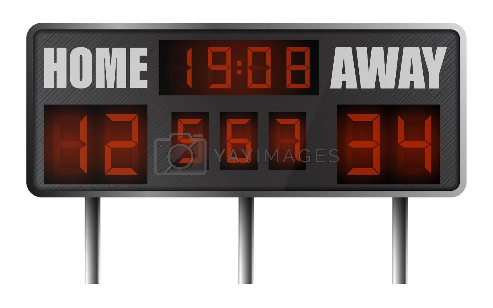 realistic electronic sports scoreboard. Score on board during match on field. Team sports. Active lifestyle. Vector