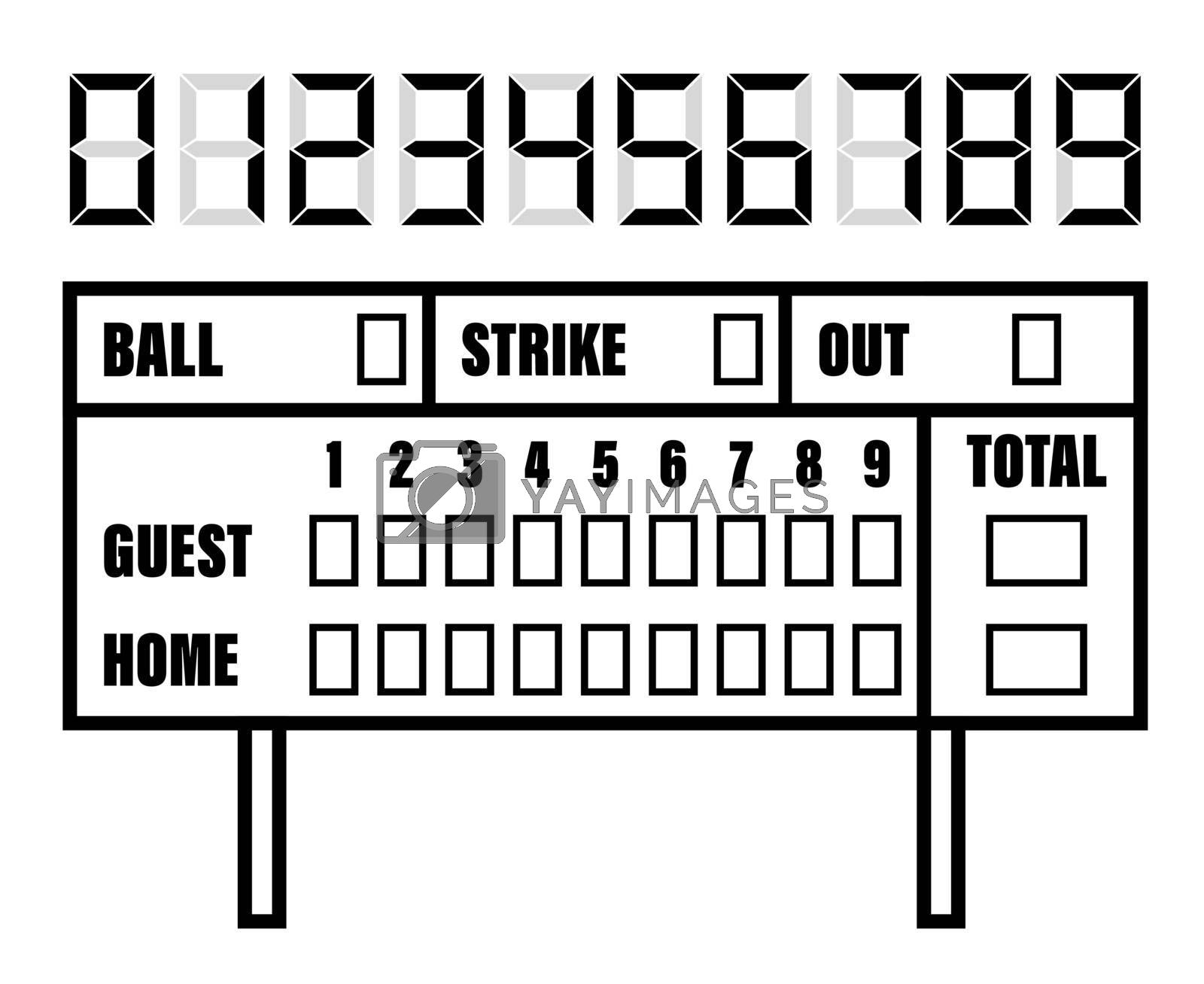 Royalty free image of baseball scoreboard. Score on board during match on field. Team sports. Active lifestyle. American national sport. Vector by RNko