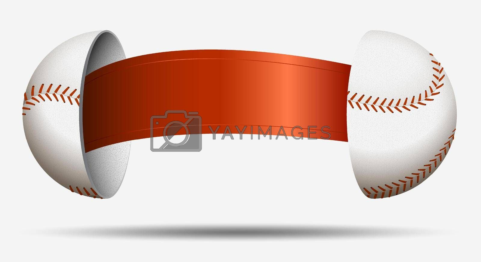 baseball halves with red ribbon inside. Ball for choosing an opponent. Sports lot, luck. Vector