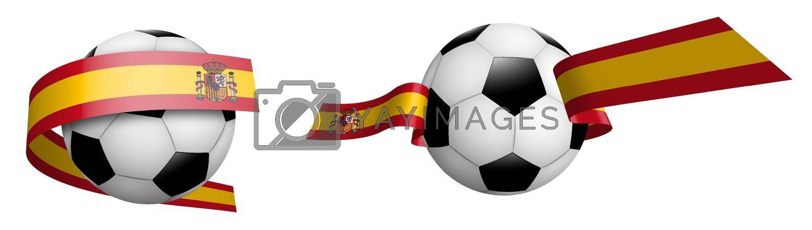 balls for soccer, classic football in ribbons with colors Spain flag. Design element for football competitions. Spain national team. Isolated vector on white background