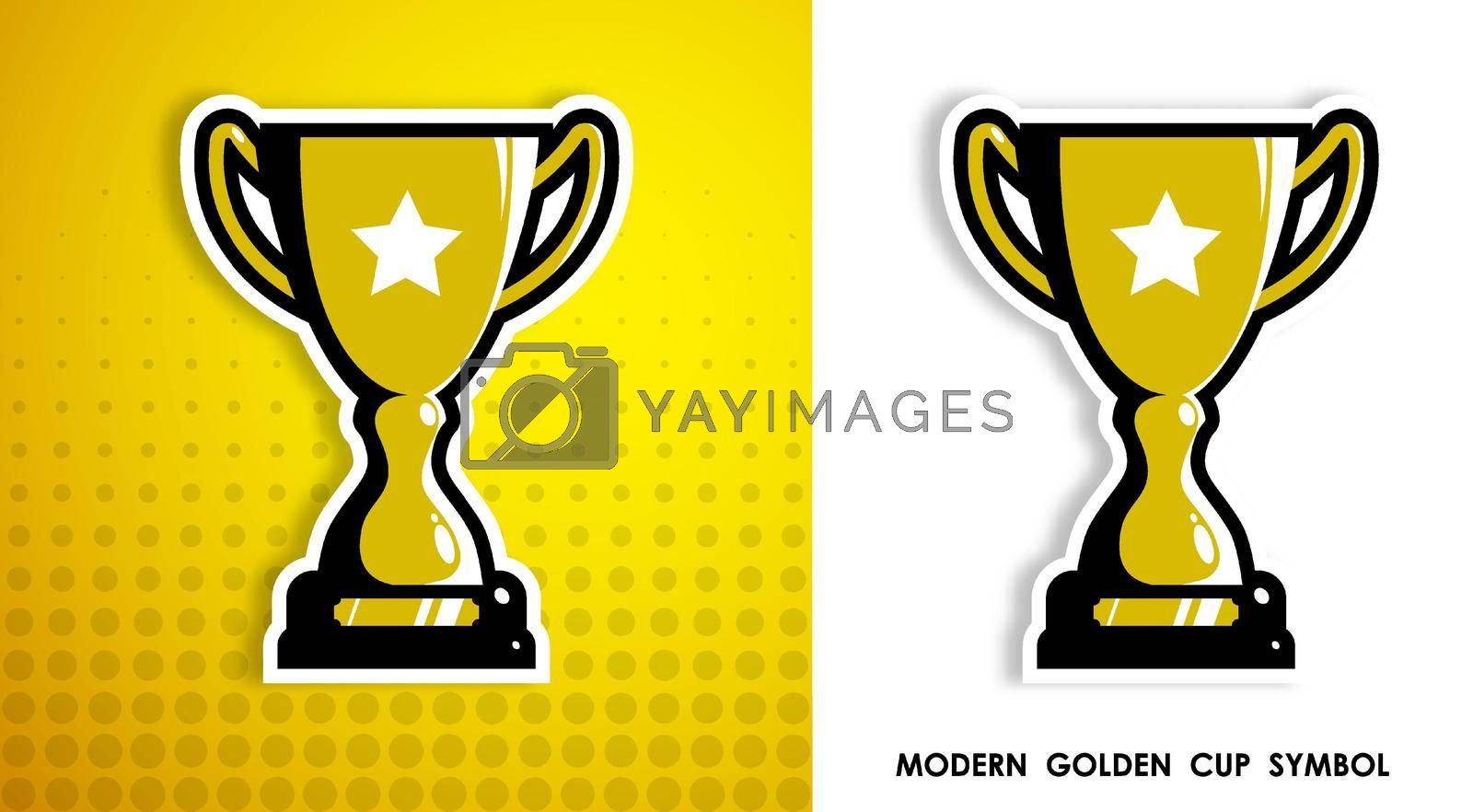 Prize sports cup for participation in sports competitions. Award to winner of tournament. Vector in modern contrast style