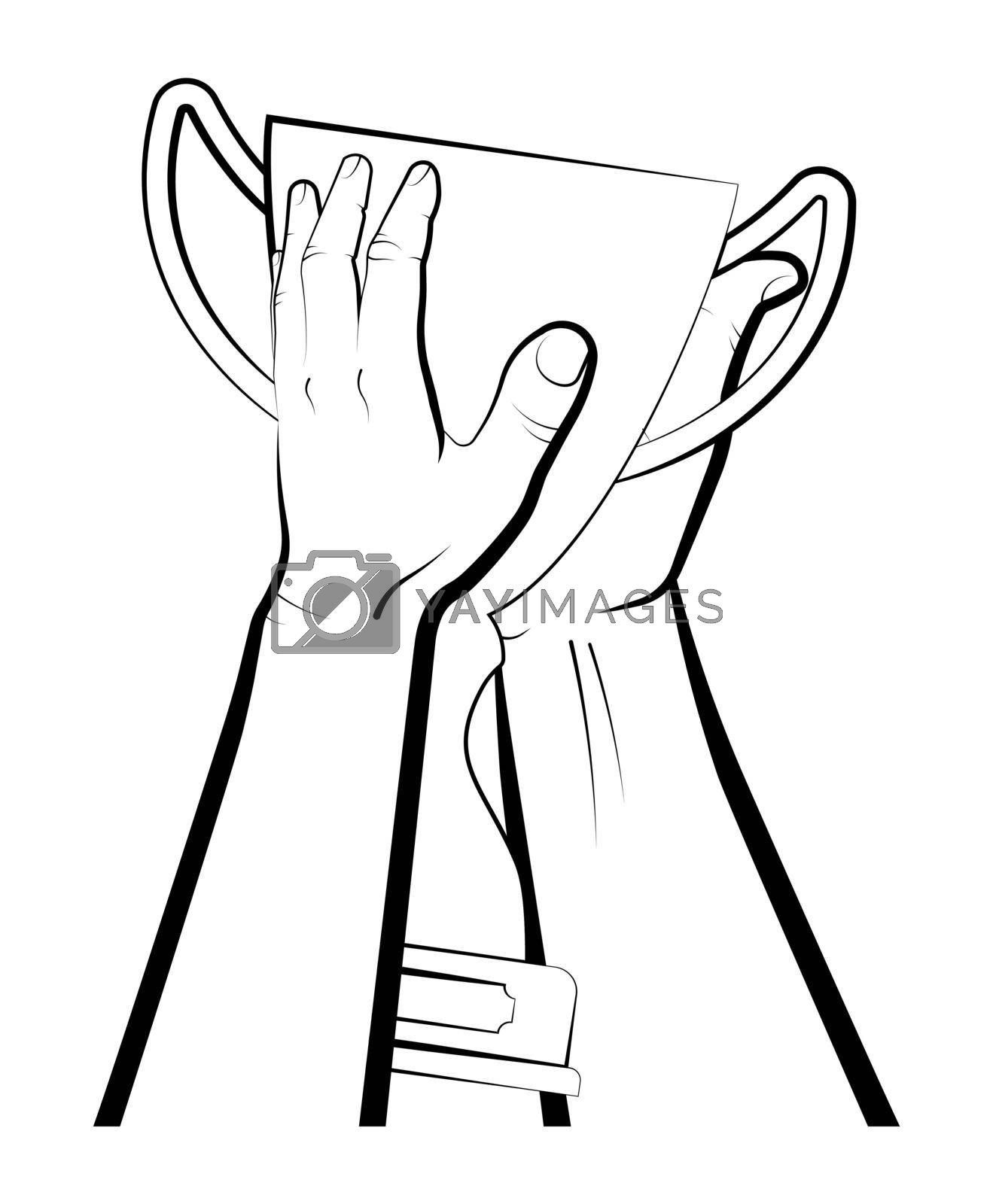 male hands raise prize, sports cup for participation in sports competitions. Award to winner of tournament. Vector