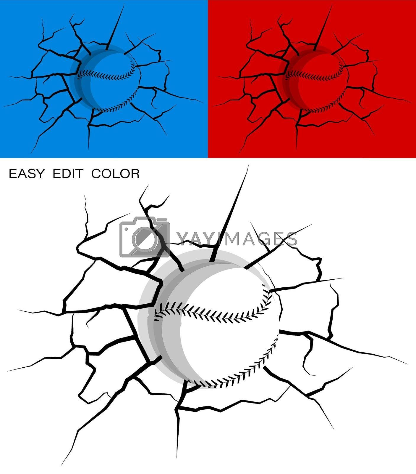 baseball hit wall powerfully and damaged, cracks on wall. Sports design element. American national sport. Active lifestyle. Vector on white or color background with cracks