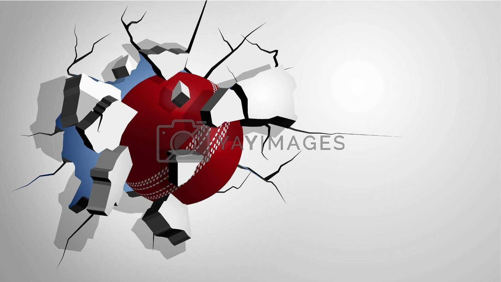 Royalty free image of red cricket ball punched through the wall and breaks into shards, cracks on wall. Inflicting heavy damage. Vector by RNko