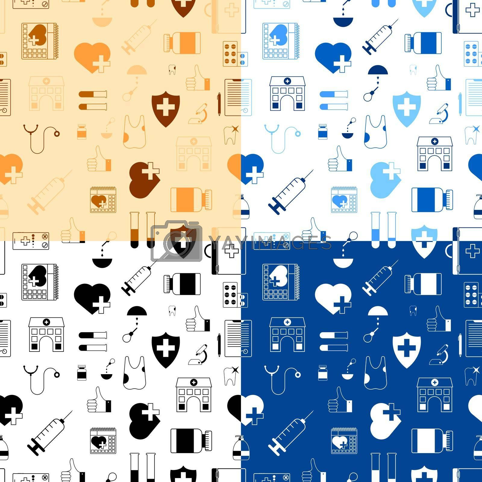 Set of seamless patterns with medical icons. First aid kit, stethoscope, pills, syringe, tooth, microscope, test tubes, hospital, doctor conclusion. Vector