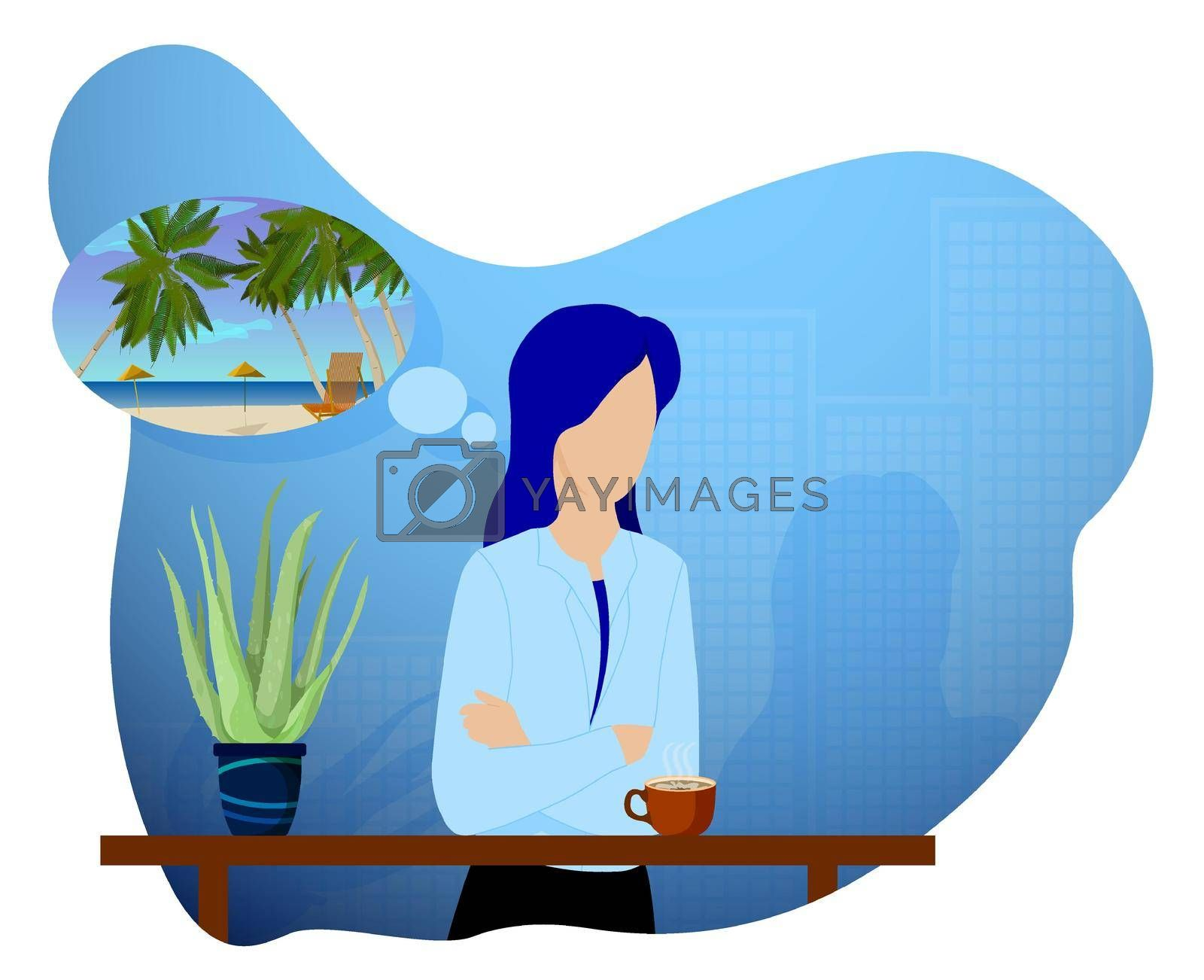 young girl with mug of cocoa at table recalls her summer sea vacation. Memories of summer vacations. Depressed autumn mood, depression. Vector