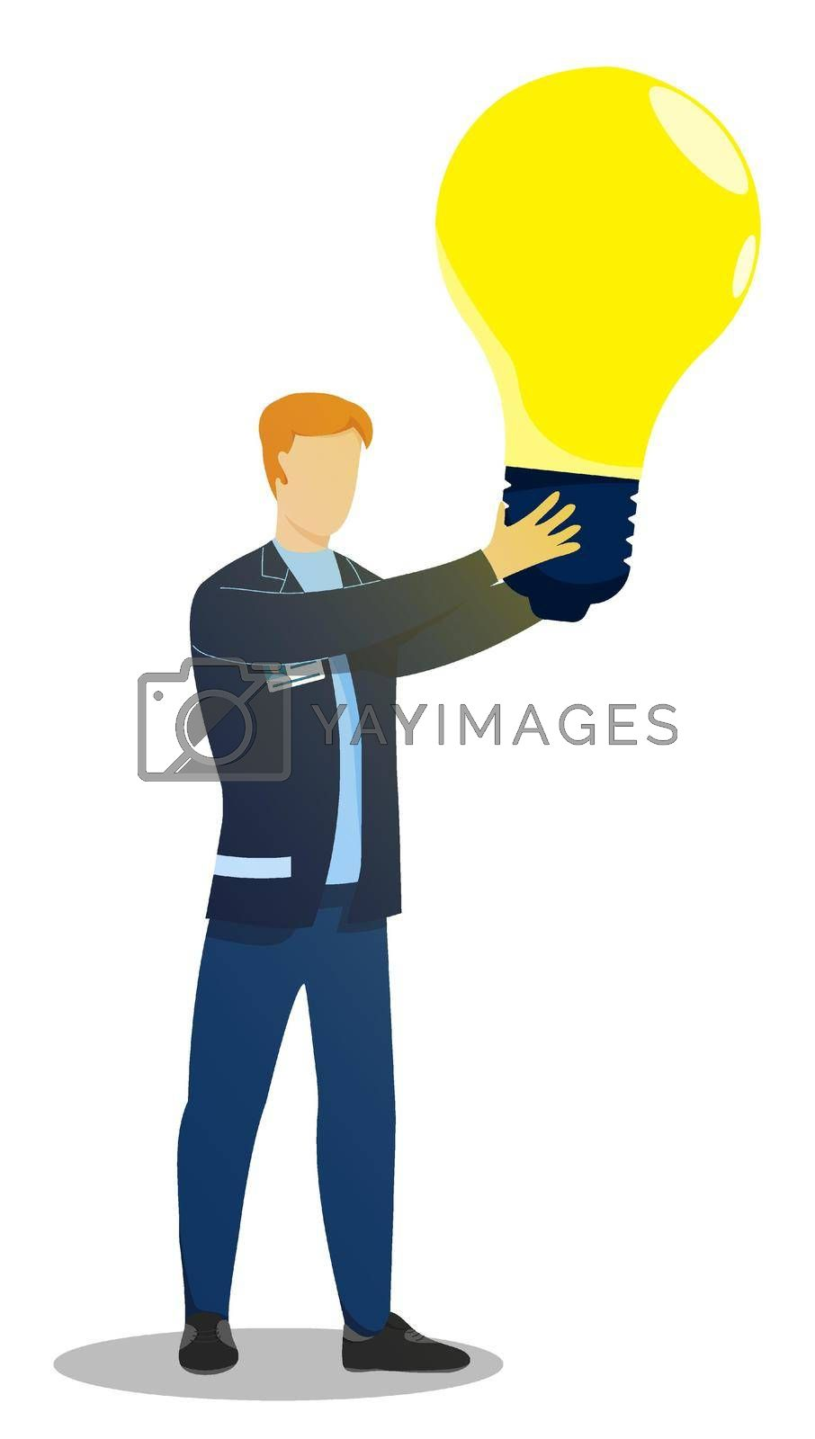 man, creative worker holding large glowing light bulb in his hands. New idea, creative thought. Business brainstorming to solve problem. Vector isolated on white background
