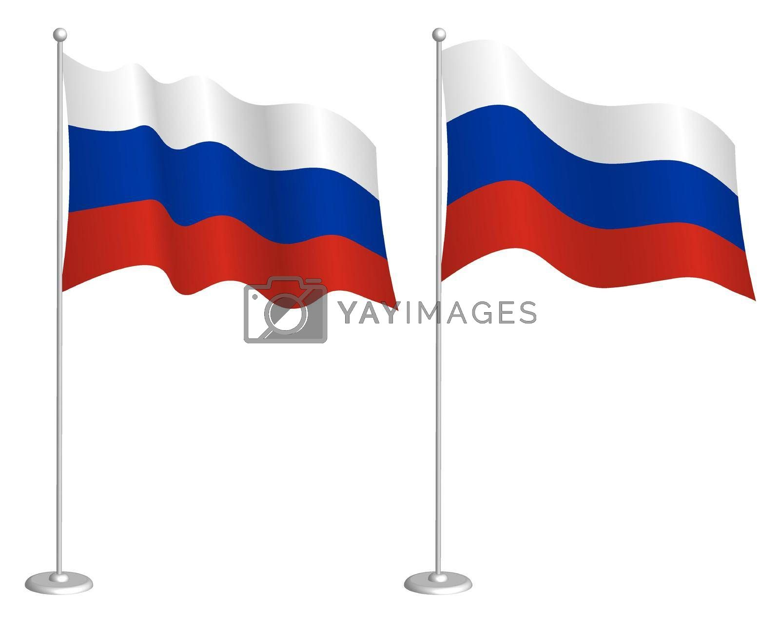 flag of Russia, Russian Federation on flagpole waving in wind. Holiday design element. Checkpoint for map symbols. Isolated vector on white background