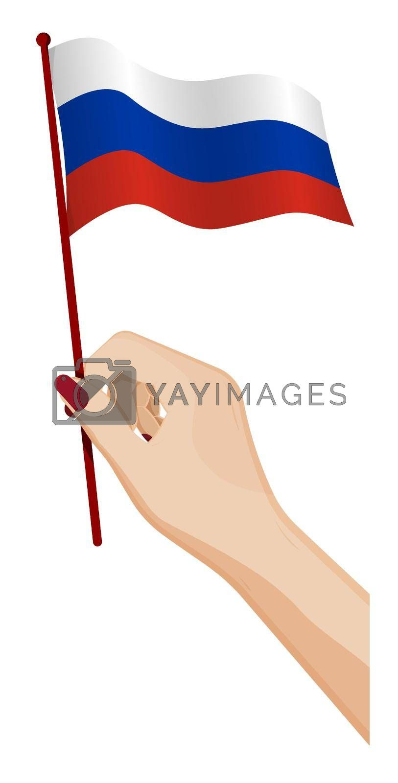Female hand gently holds small flag of Russia, Russian Federation. Holiday design element. Cartoon vector on white background