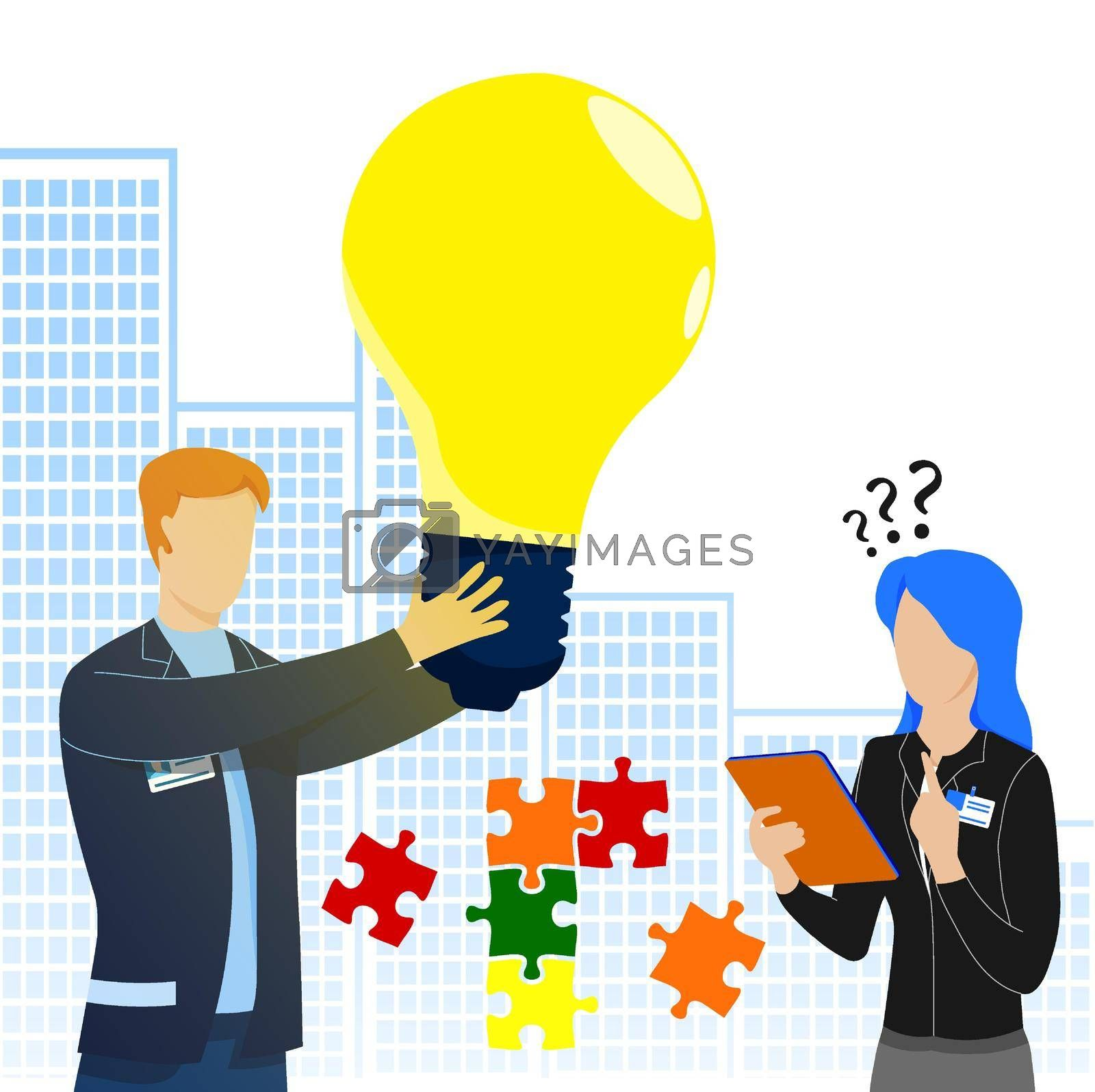 Teamwork. Creative worker holding large glowing light bulb in his hands. New idea, creative thought. Two people solve puzzle, jigsaw pieces together. Work of people in team for common result. Vector