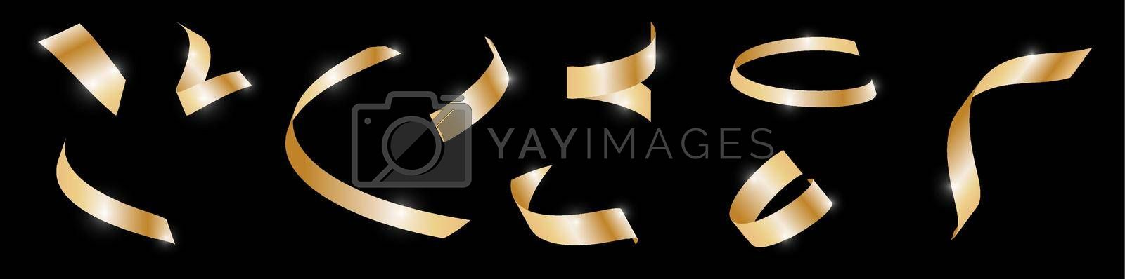 set of gold confetti on dark background, festive tinsel of different spiral shapes. New Year and Christmas holidays. Decoration of backgrounds and banners for any dark background. Vector