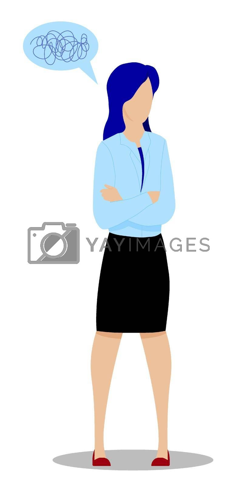 girl, female stands in thought. Making difficult decisions, answering questions. Confusion in head. Vector on white background
