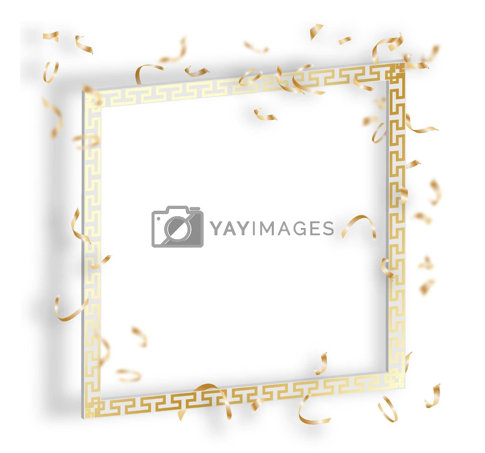 white solemn frame with expensive gold ornament and gold confetti. Tinsel falls from above. Festive template for congratulations on birthday, anniversary, wedding. Realistic ceremonial vector