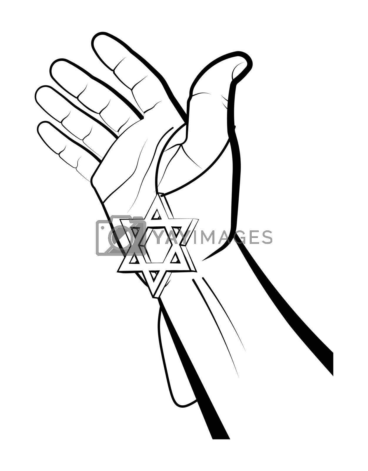 Male hand holds Star of David keychain. Israel symbol. Judaism. Celebration Hanukkah, Festival of Lights. Vector