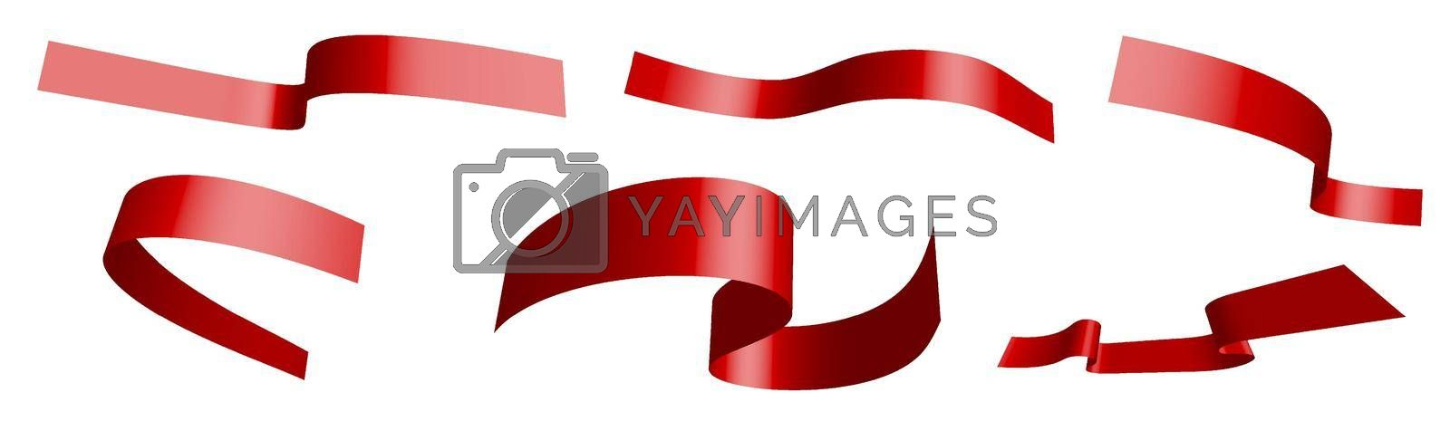 Set of red festive ribbons on white background. World AIDS Day 1 December. Separation into lower and upper layers. Design element. Vector on white background