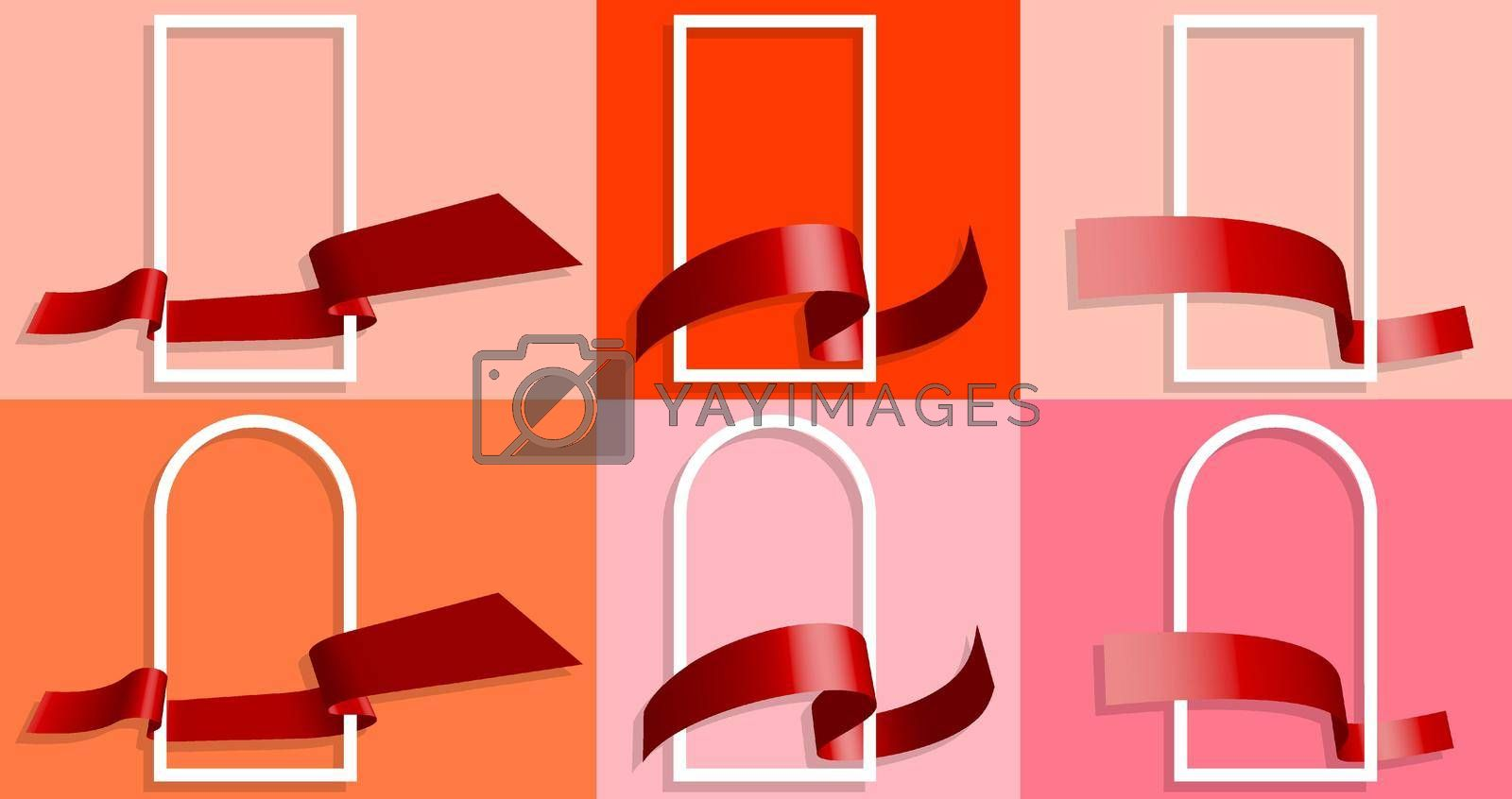 set of white frames with festive red ribbon around. Template for greeting card. Separation into lower and upper layers. Design element. Vector for any colored background