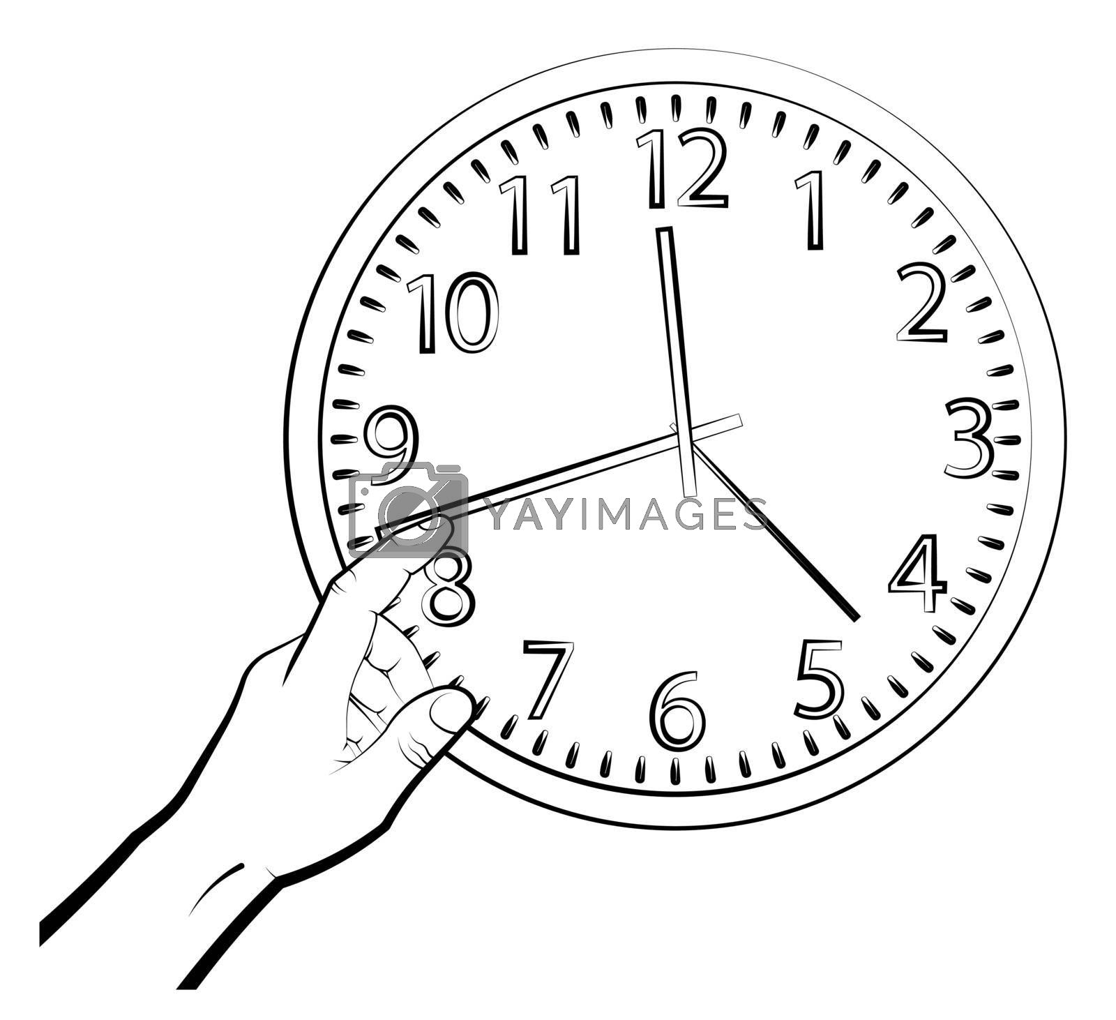 man hand translates hands of mechanical watch. Time to wake up concept. Mechanical watch for measuring time. Vector