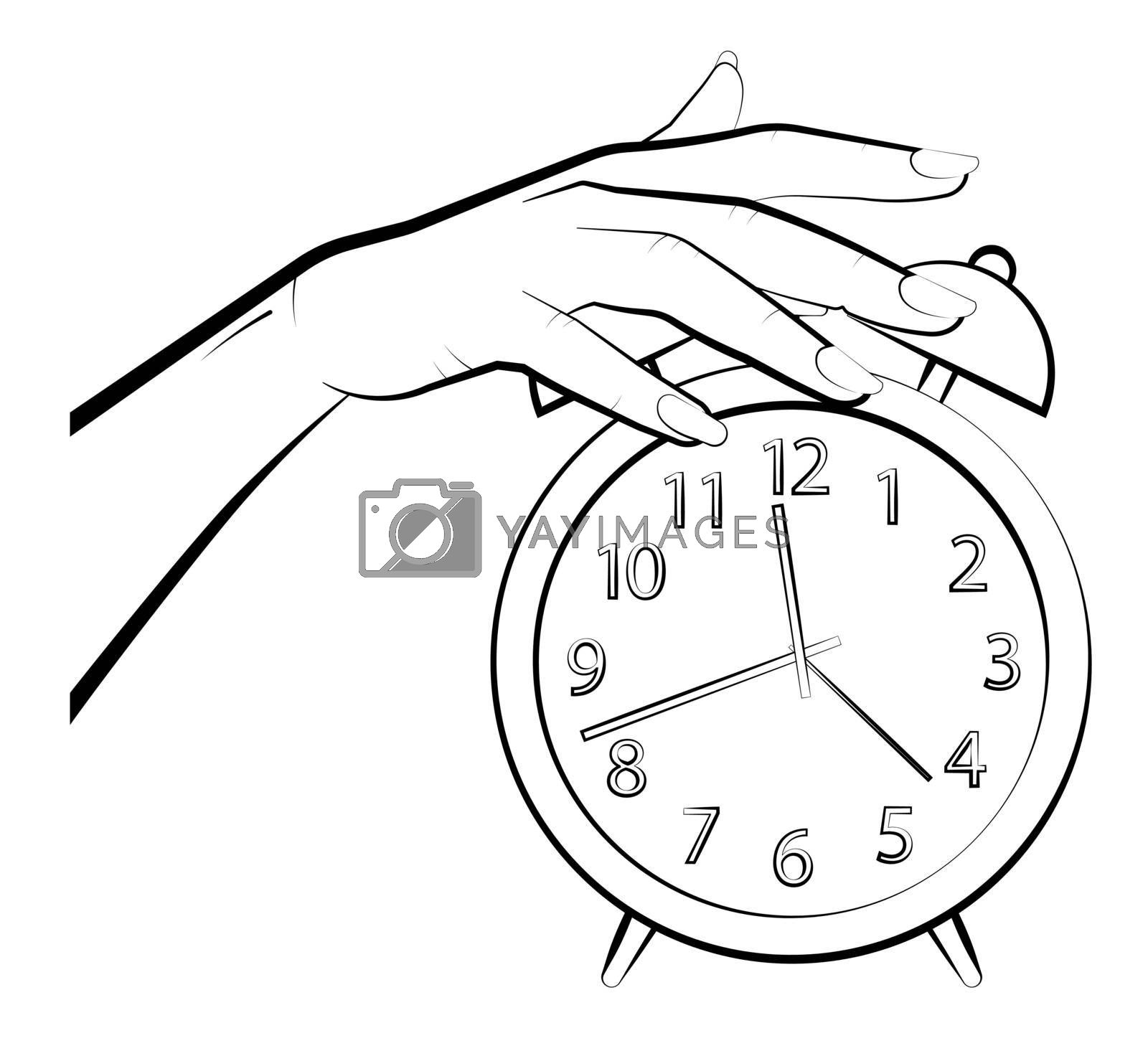 woman hand turns off the alarm. Fatigue and insomnia. Time to wake up concept. Vector