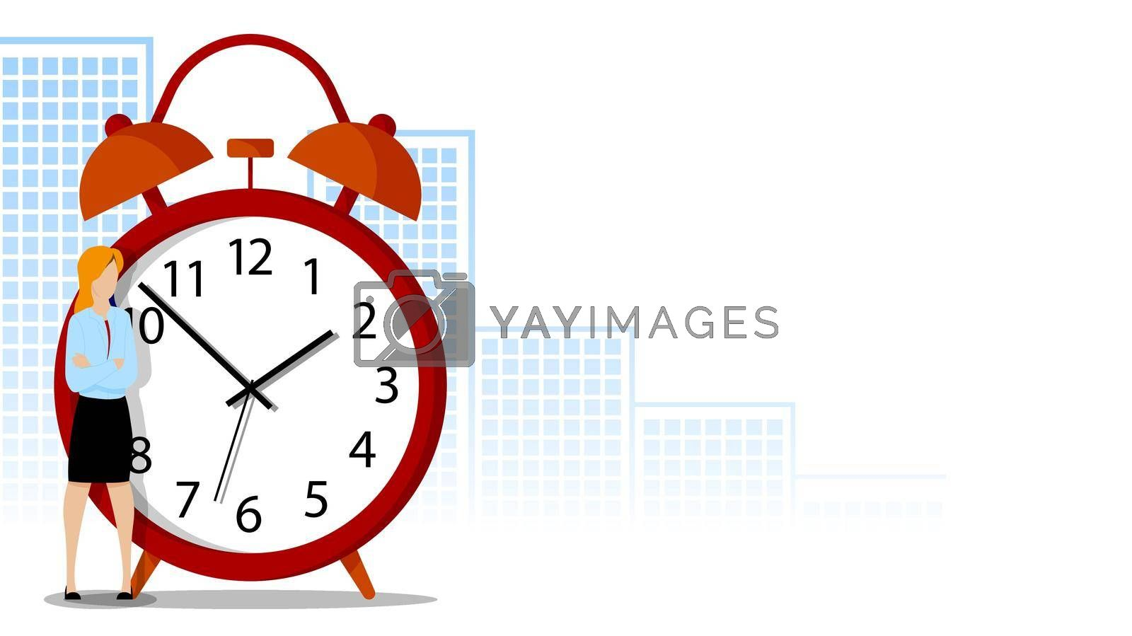 woman office worker stands brooding about with large alarm clock. Concept of change in life. First steps to change your life. Big alarm clock on background of metropolis. Vector