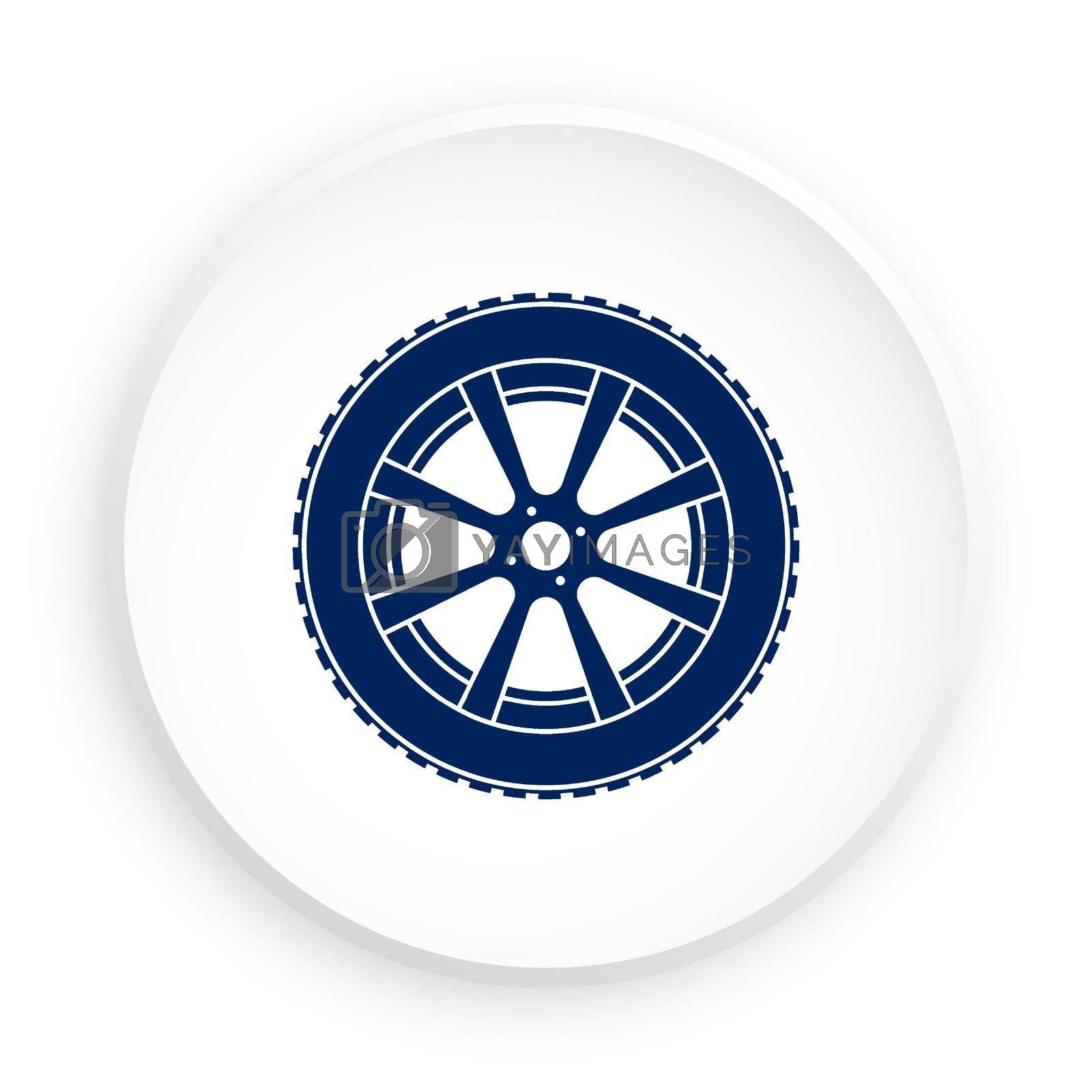 wheel with tire and winter rubber tread in neomorphism style on white background. Winter tires for car. Driving on slippery road. Driving safety. Vector