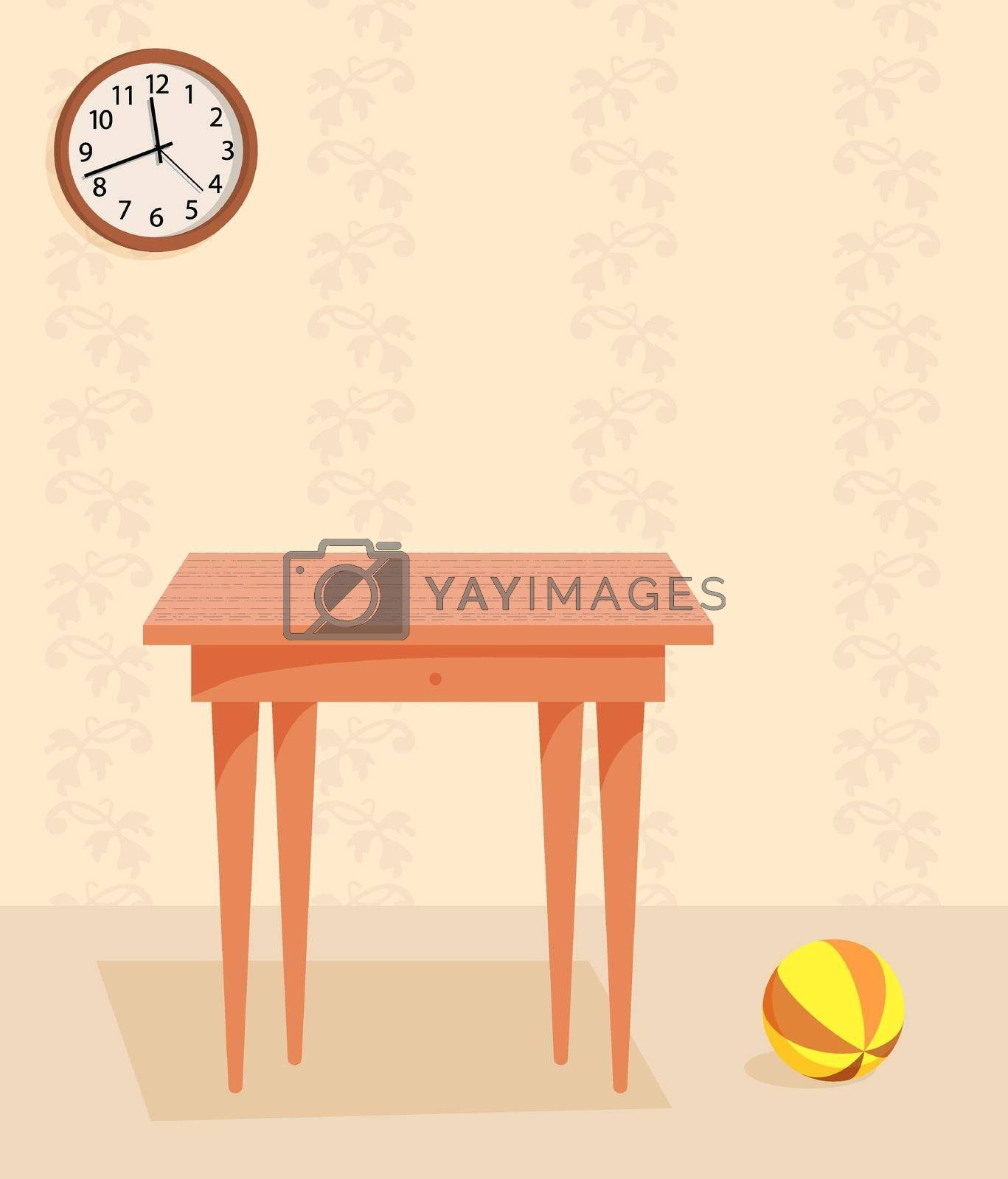 indoor wooden table and baby ball on the floor in room. Retro style apartment with old furniture. Mock up, template for retro design. Vector