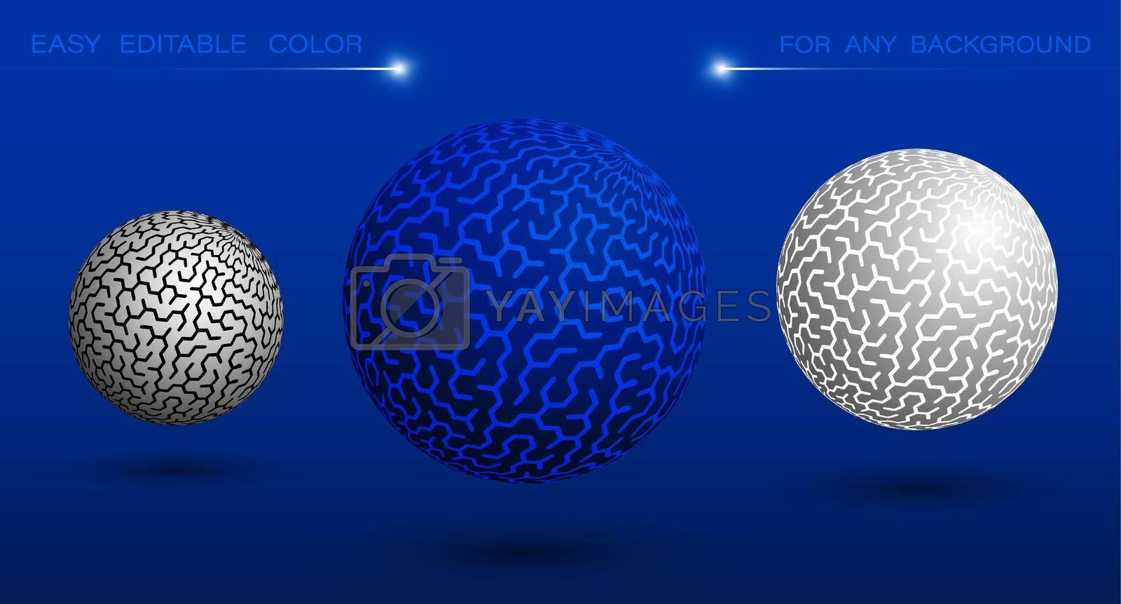 decorative sphere with hexagons and labyrinth ornament. Design element or ready made tech banner decoration. Easy to edit ornament and background color. Vector