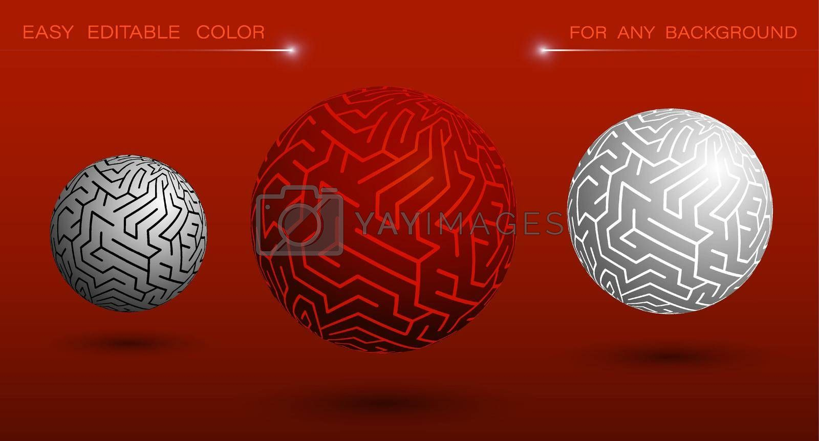 decorative sphere with labyrinth ornament. Design element or ready made tech banner decoration. Easy to edit ornament and background color. Vector