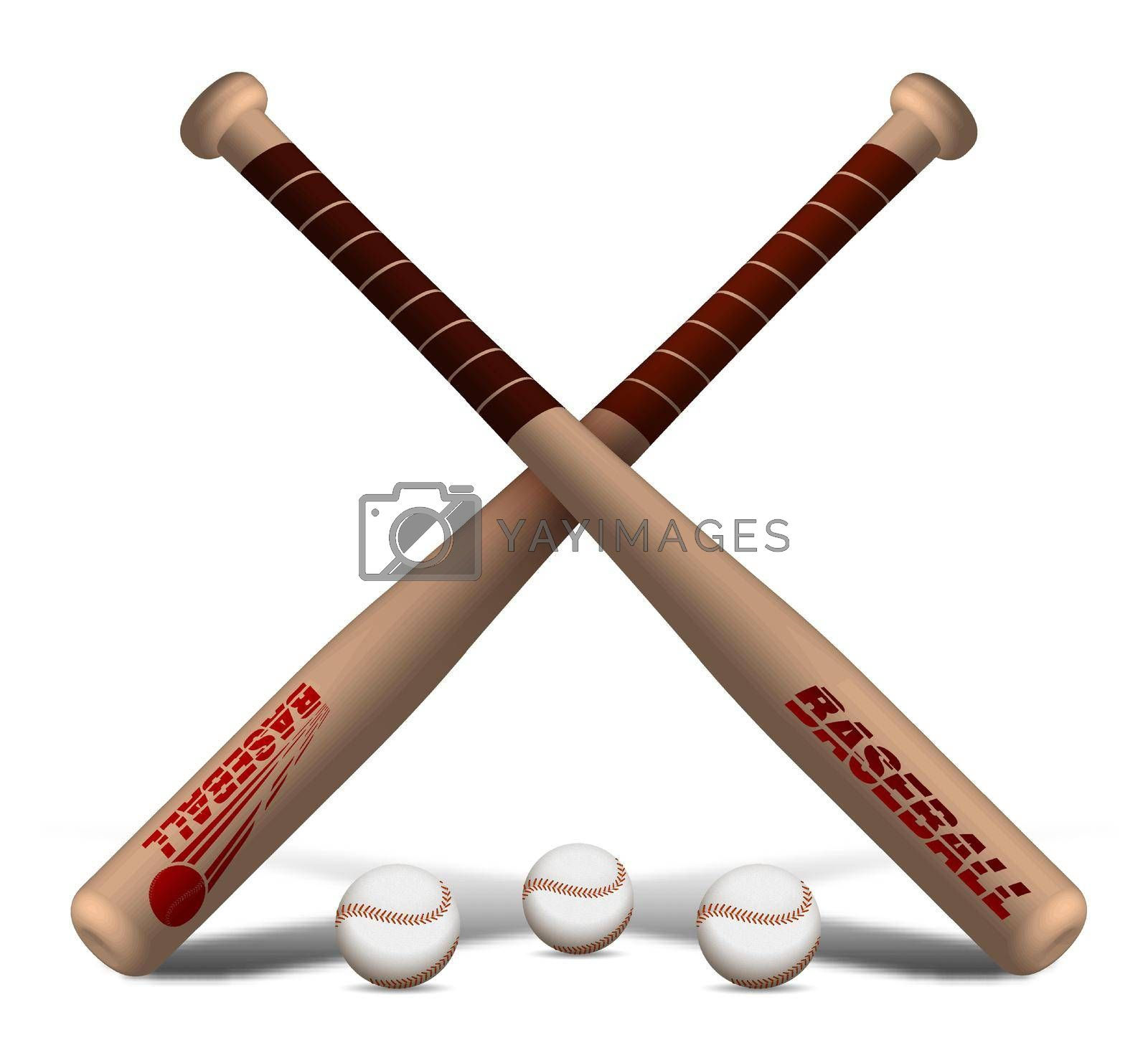 crossed sports wooden baseball bats with balls. American national sport. Active lifestyle. Realistic vector
