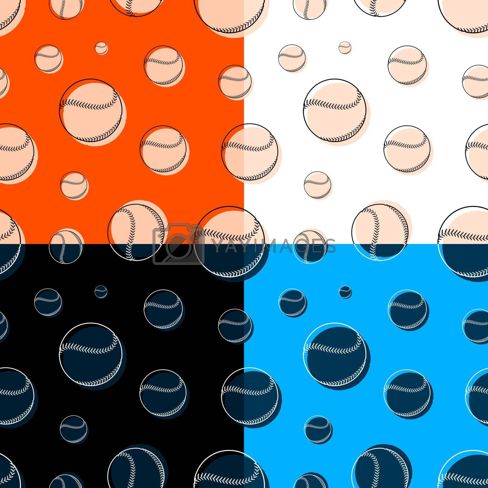 set of seamless patterns with baseball sport balls. Team sports. Healthy lifestyle. Ornament for printing and decoration of sports competitions. Vector