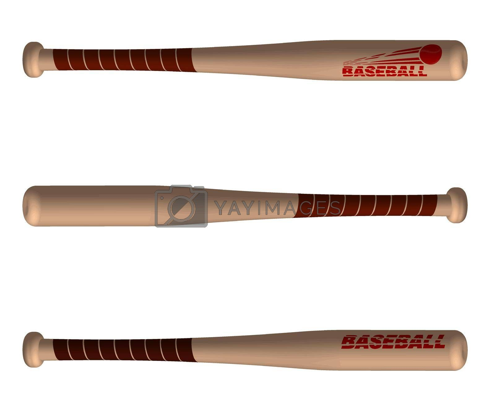 sports wooden baseball bats. American national sport. Active lifestyle. Realistic vector