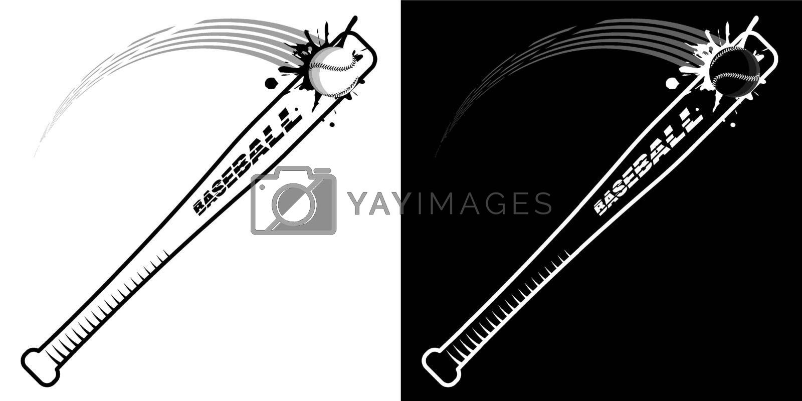 sports wooden baseball bat powerfully with splashes hits flying ball. American national sport. Active lifestyle. Vector