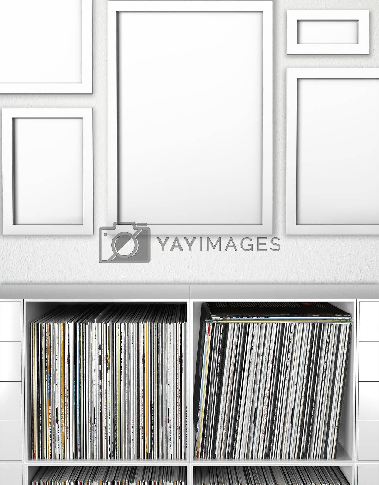 Photorealistic Poster Mockup Frames With Empty Bookcase 5mm 5 Frame