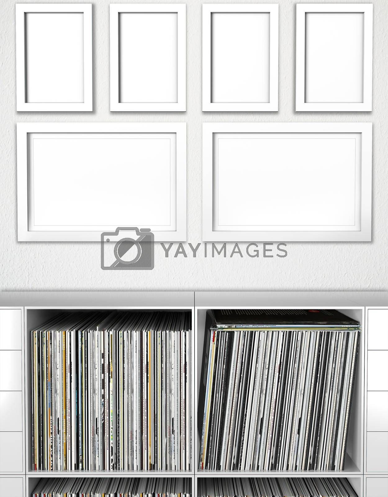 Photorealistic Poster Mockup Frames With Empty Bookcase 5mm 6 Frame