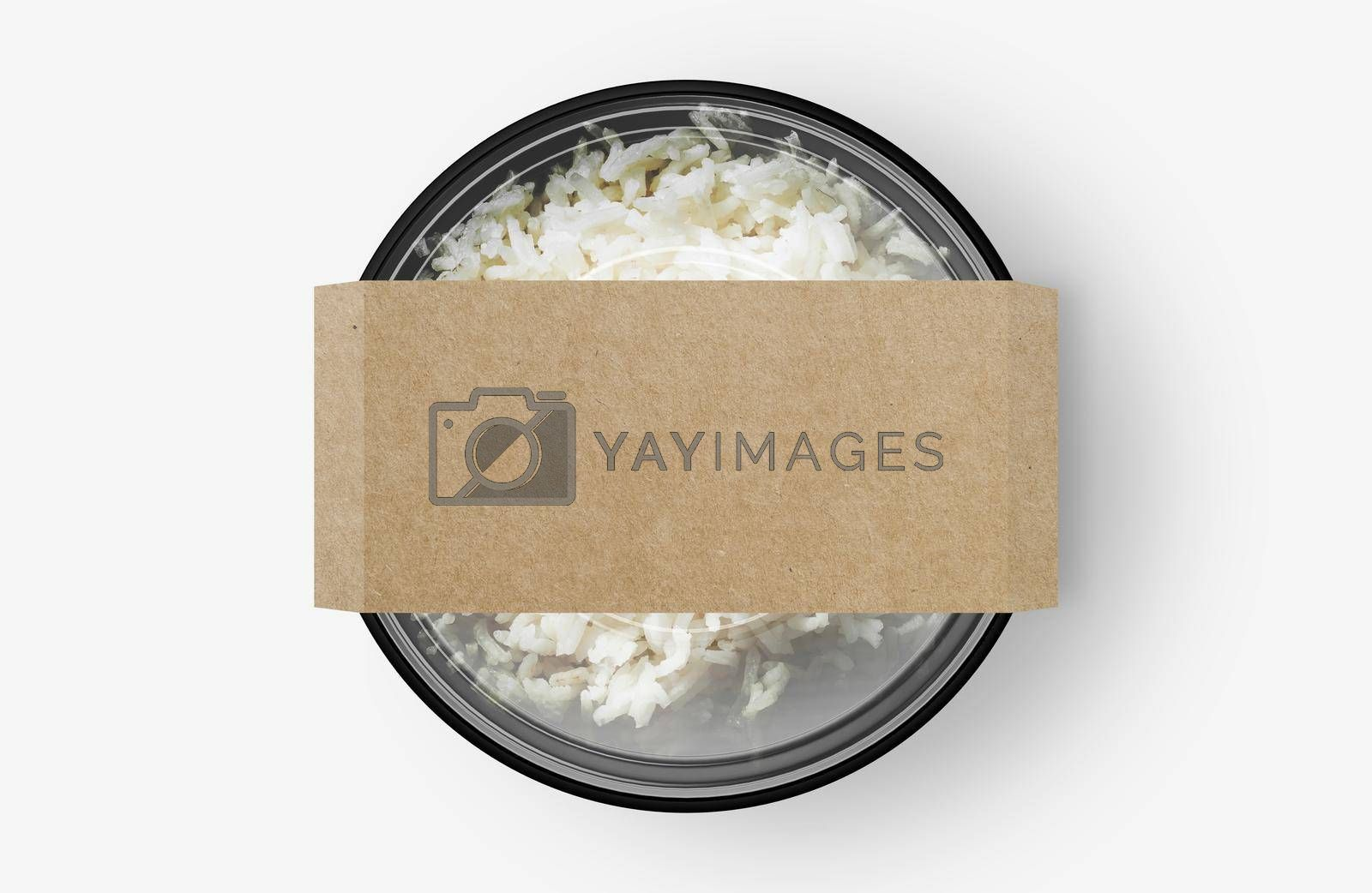 Rice Food Container With Cover Sticker Mockup