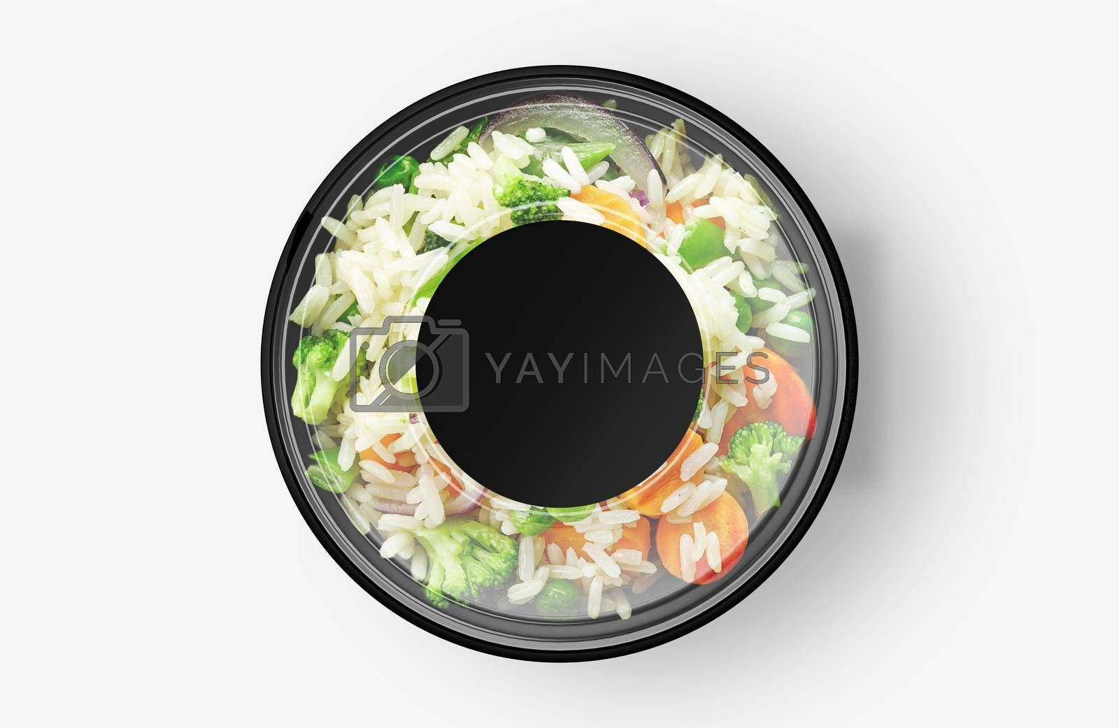 Rice Vegetable Salad Food Container With Sticker Mockup