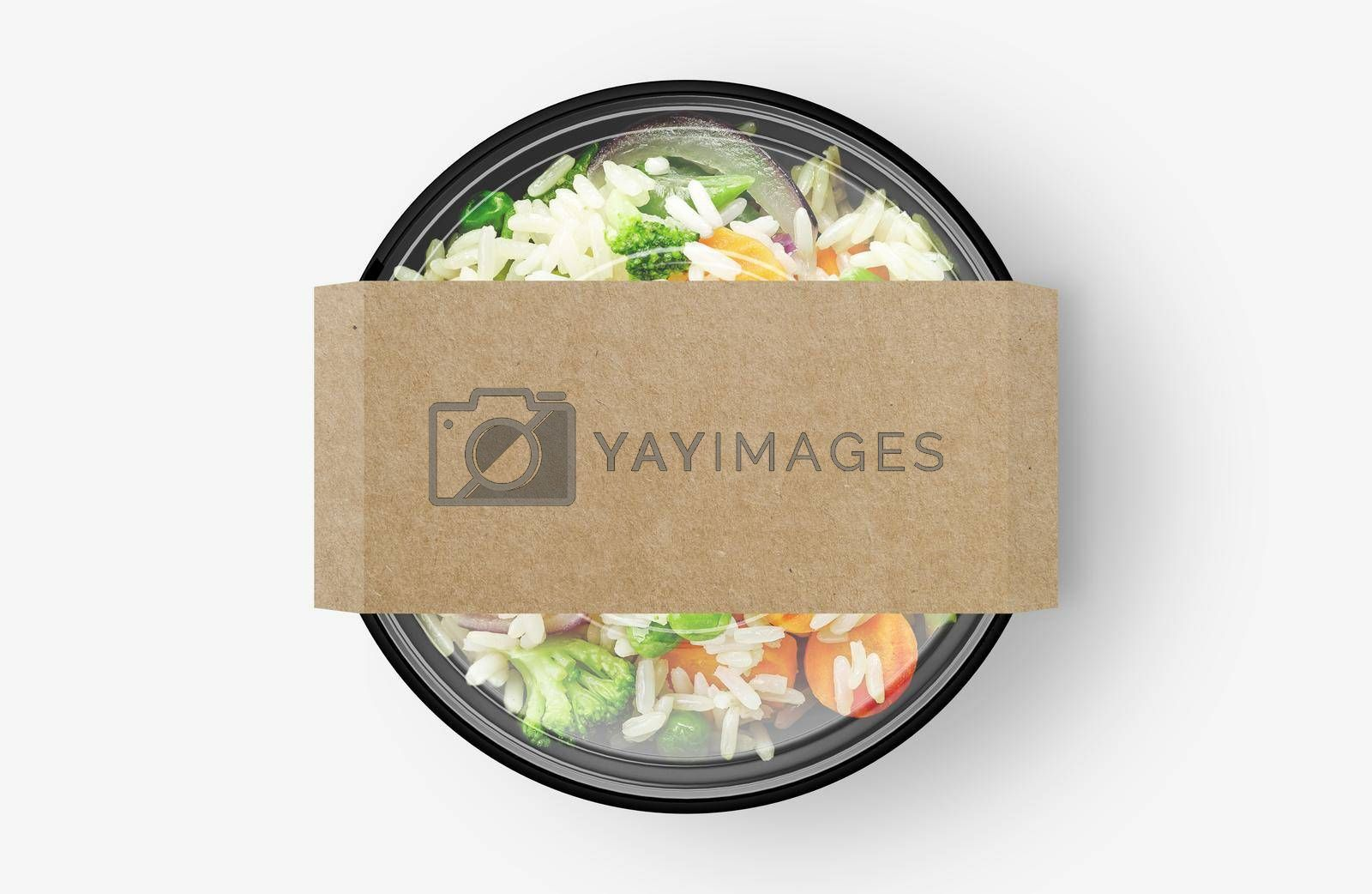 Rice Vegetable Salad Food Container With Cover Sticker Mockup