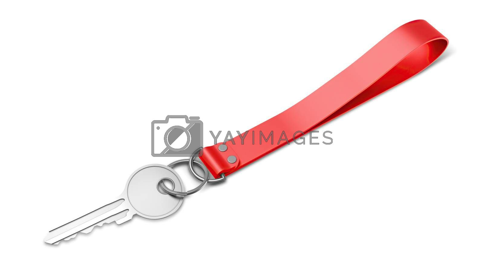 Plastic Keychain Mockup With Key Perspective View