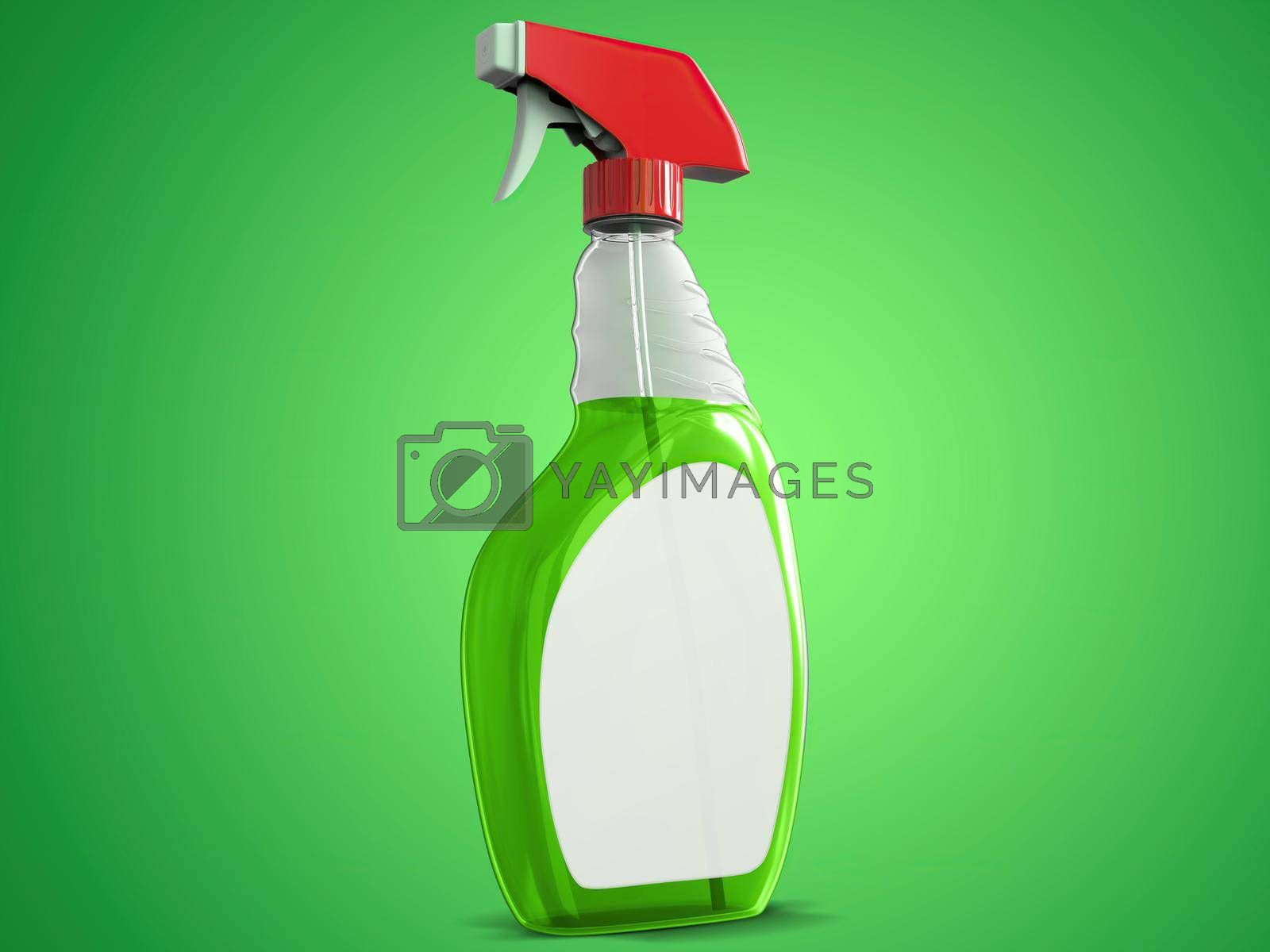 Transparent Cleaning Spray Bottle Mockup Left Perspective View