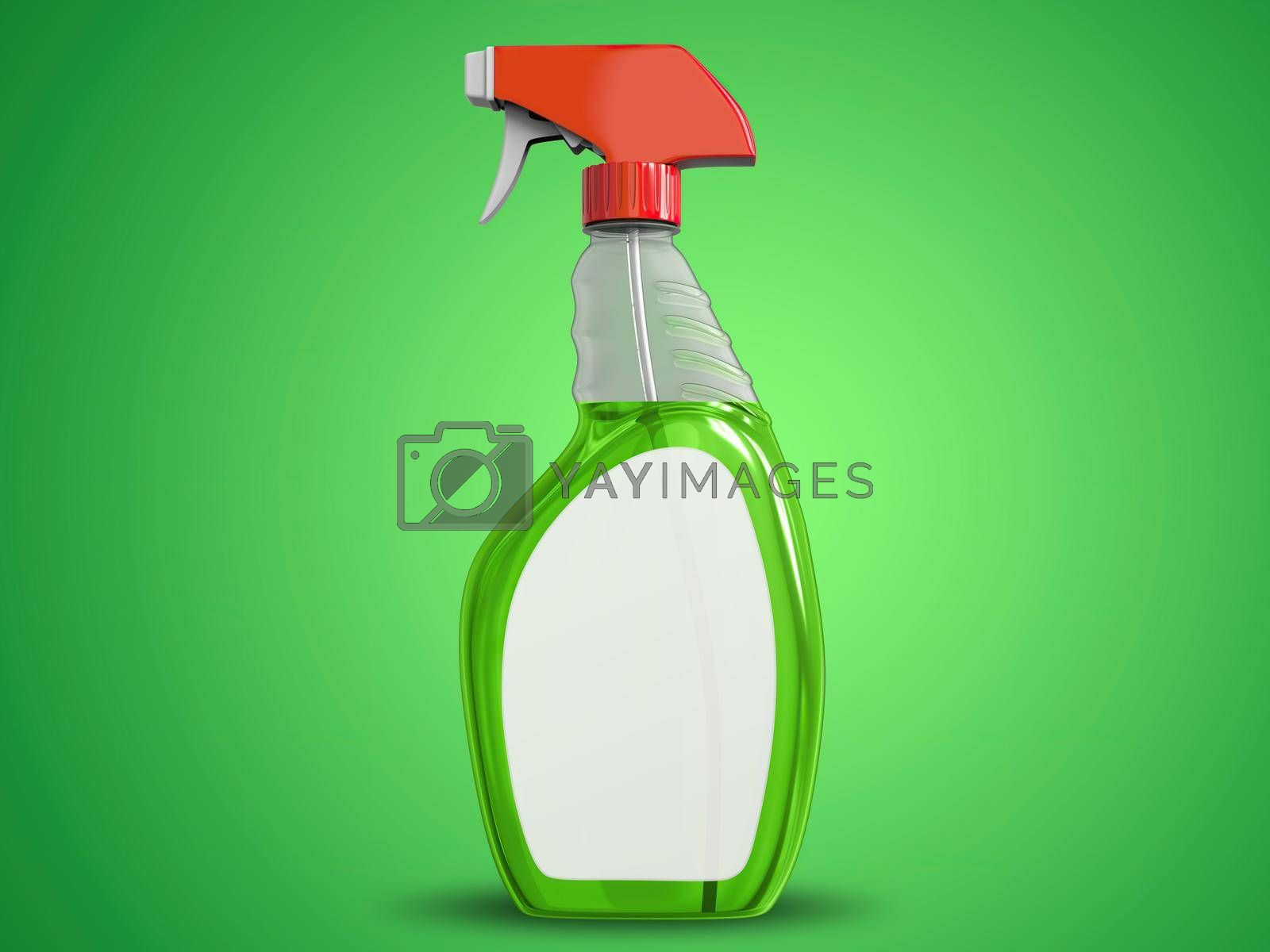 Transparent Cleaning Spray Bottle Mockup Side View