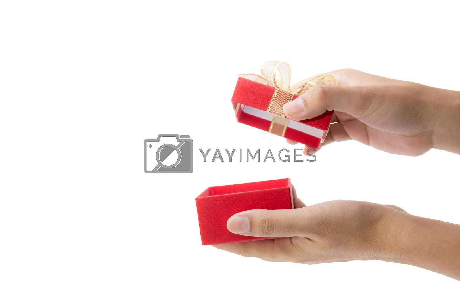 Hand open red gift box with lid isolated on white background, hand giving presents of birthday for surprise in anniversary, romance and love, feeling happy, Valentine or Christmas day concept.