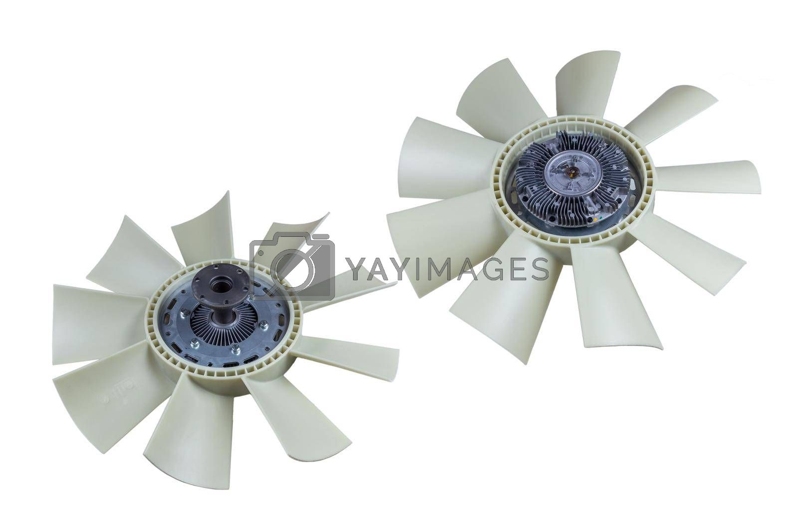 Royalty free image of Viscous coupling of the fan car with the impeller Assembly on an isolated white background by forester