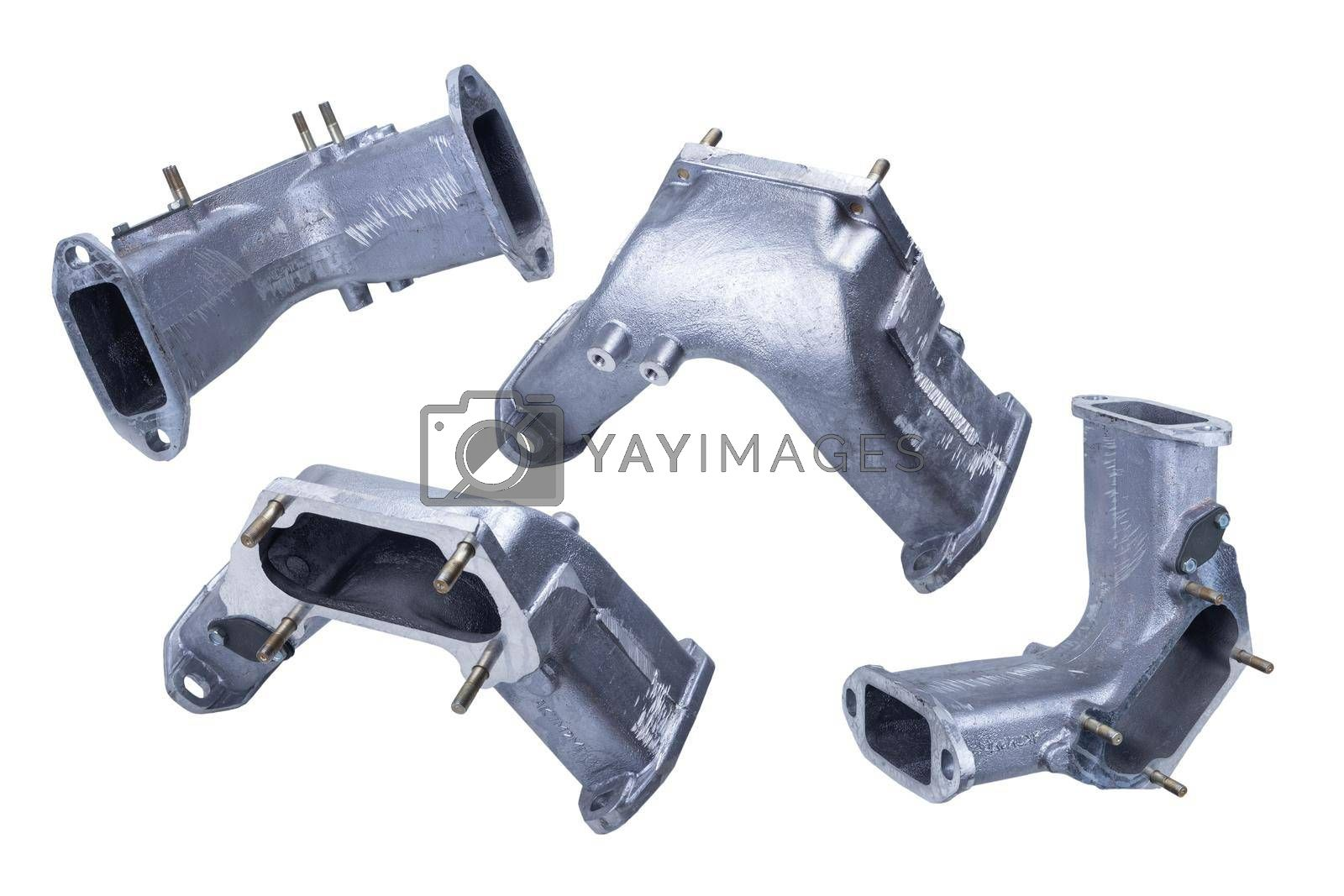 Royalty free image of parts for connecting the intake manifolds of the Russian truck engine are isolated on a white background. front and rear view by forester