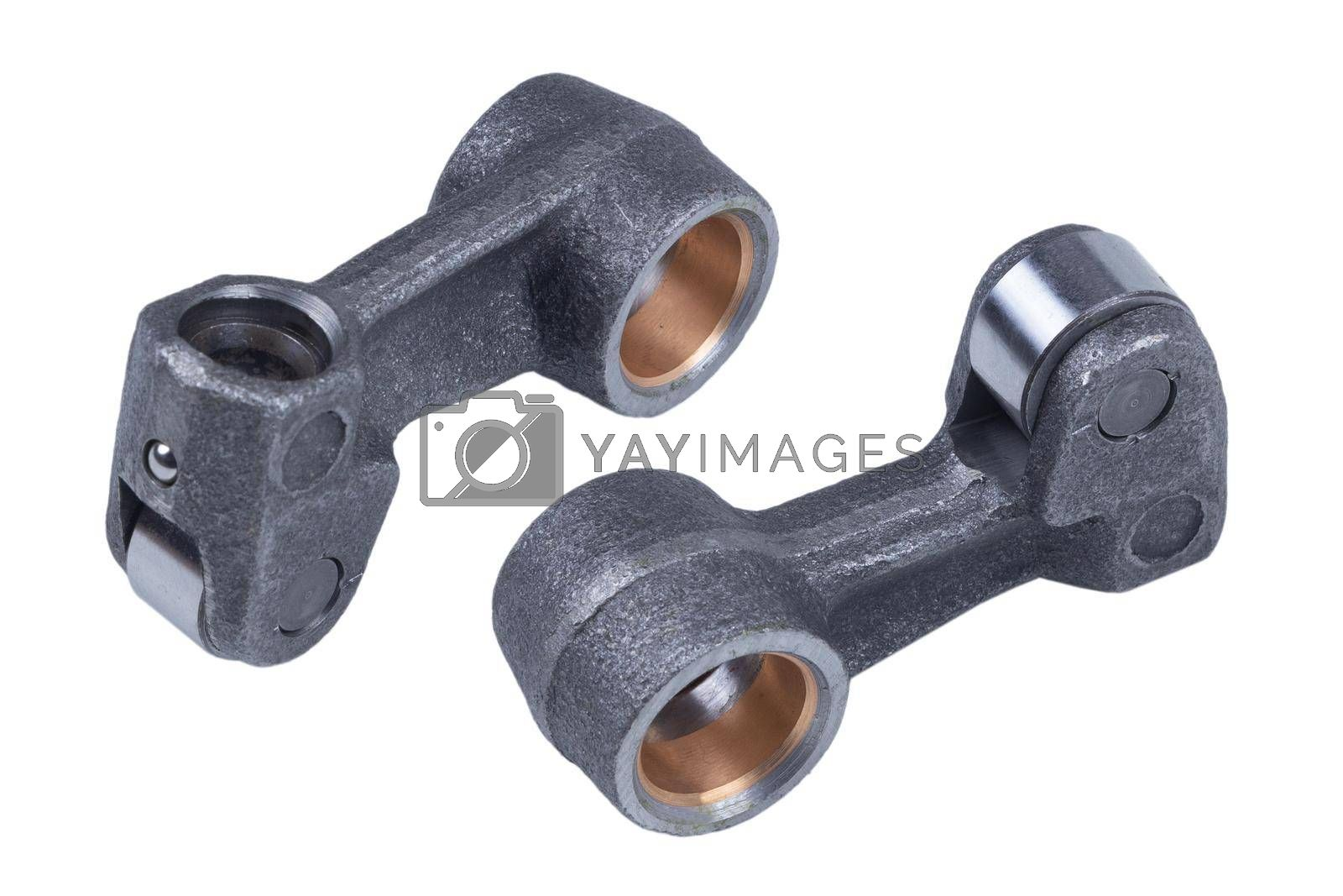 Royalty free image of New modern Car adjustable valve Truck engine Train pusher rocker arm, isolated on white background by forester